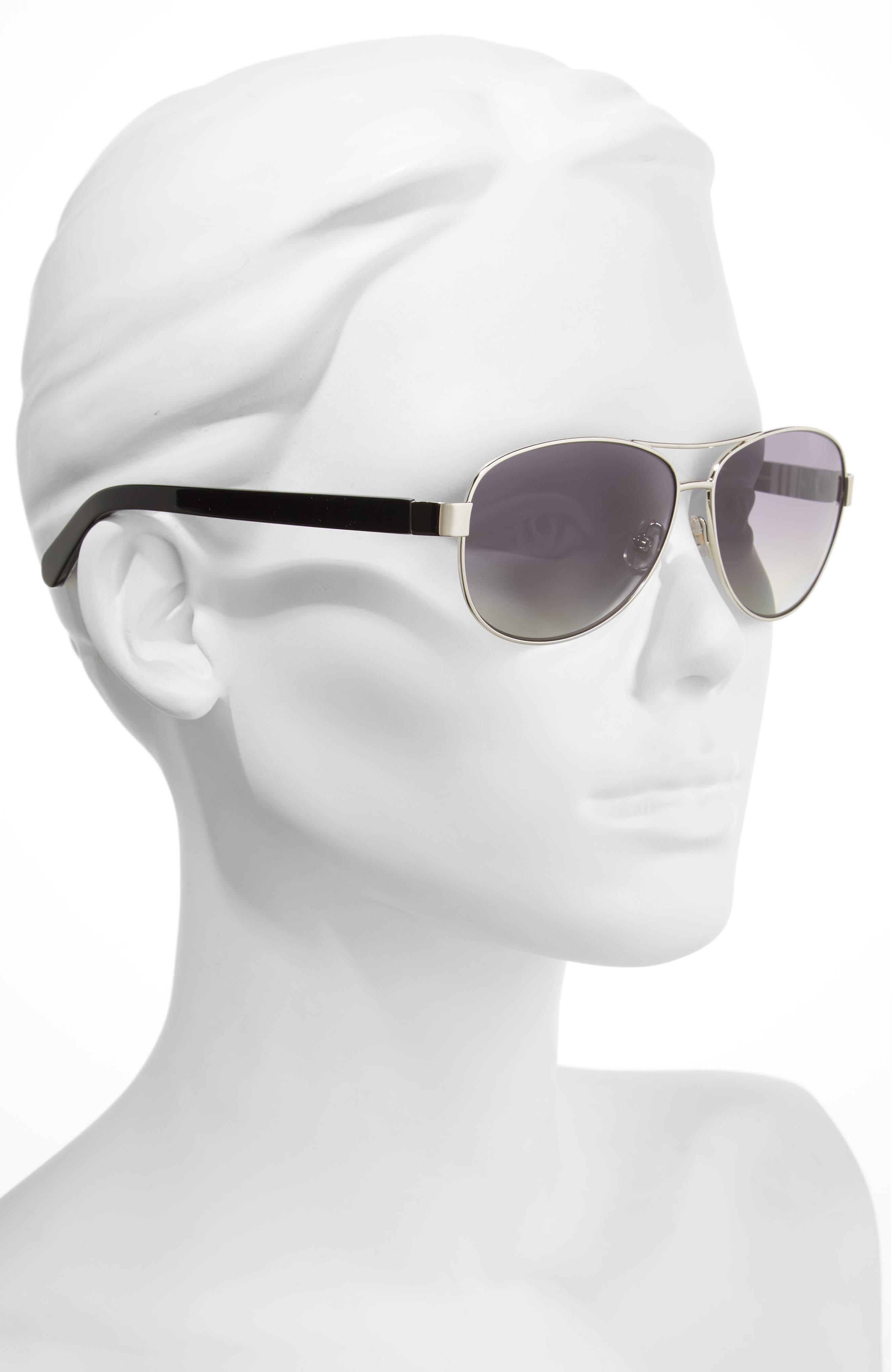 'dalia' 58mm polarized aviator sunglasses,                             Alternate thumbnail 2, color,                             SILVER/ BLACK