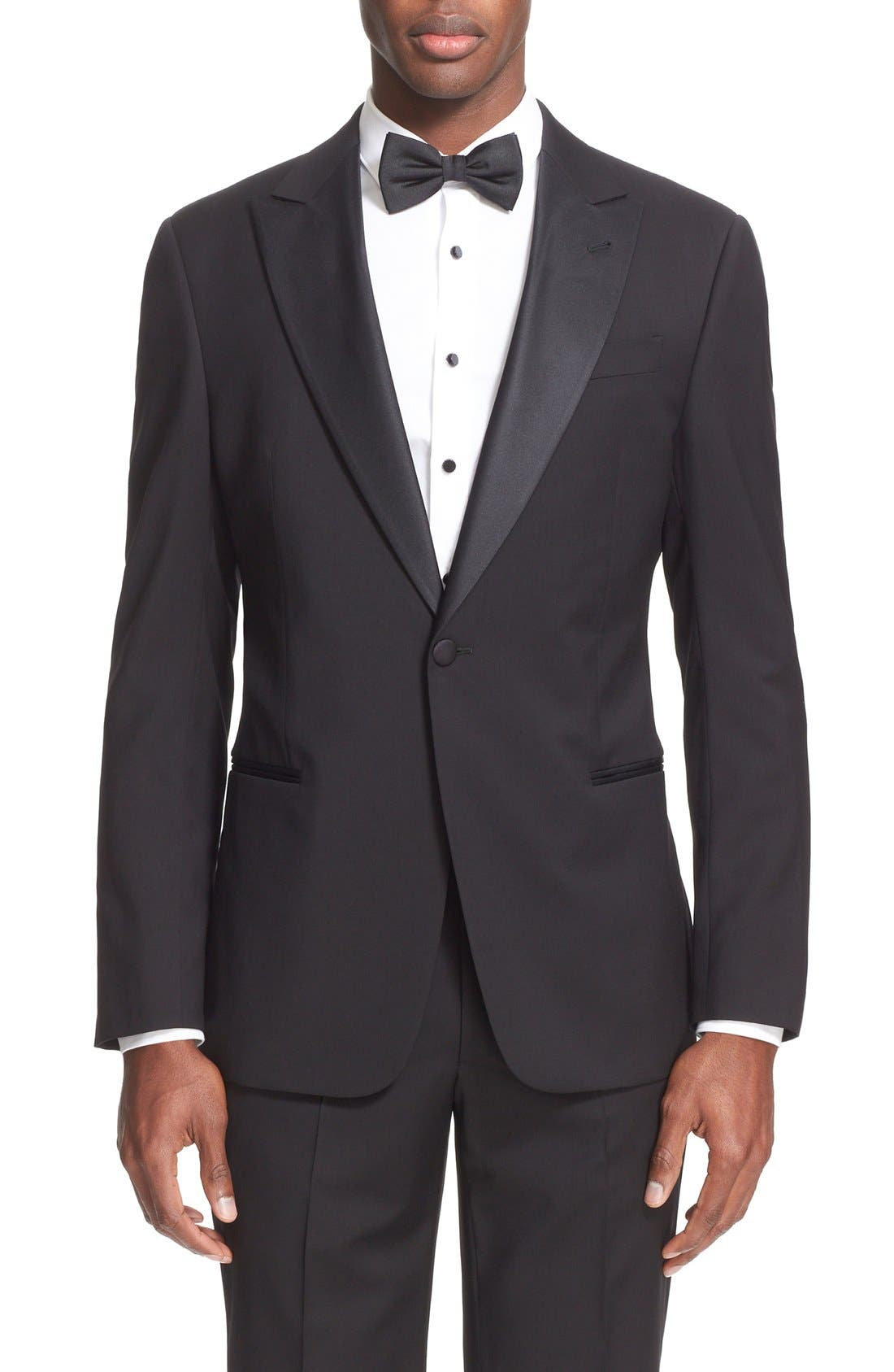 Trim Fit Wool Tuxedo,                             Alternate thumbnail 13, color,                             001