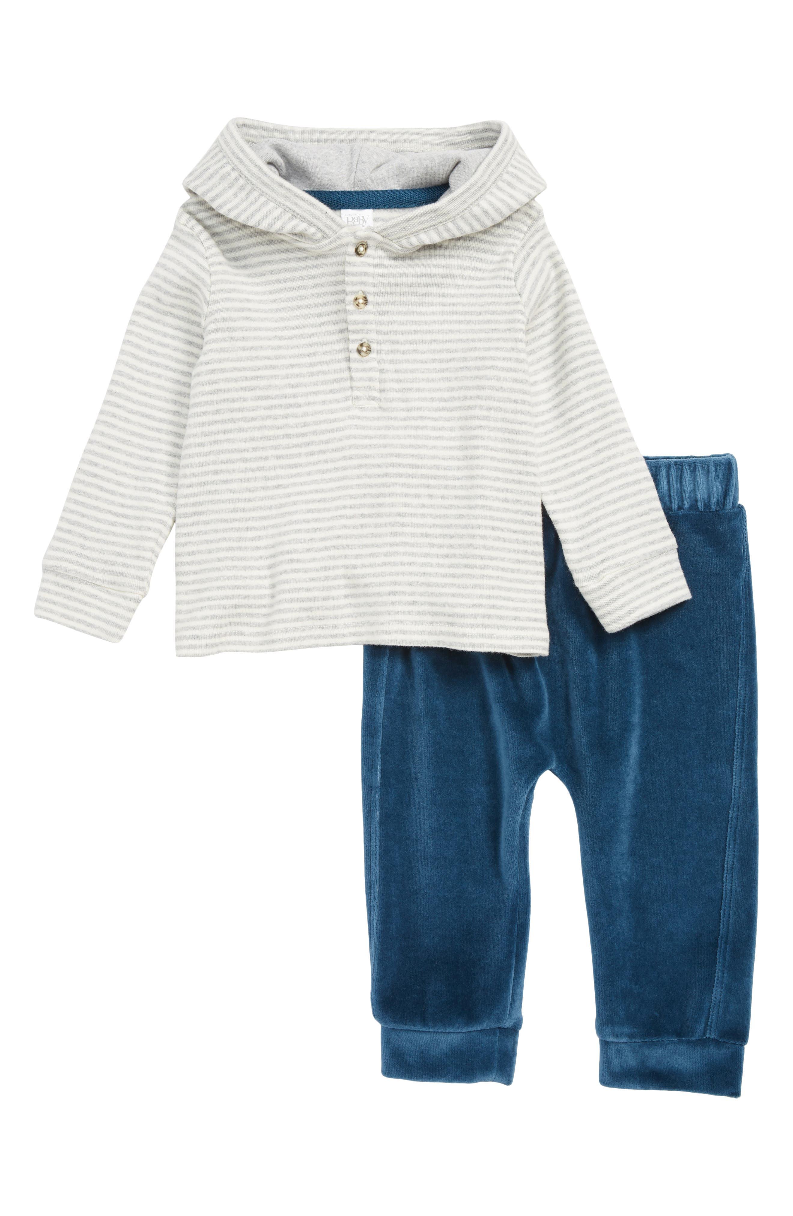 Stripe Henley Hoodie & Velour Pants Set,                             Main thumbnail 1, color,                             IVORY VANILLA STRIPE