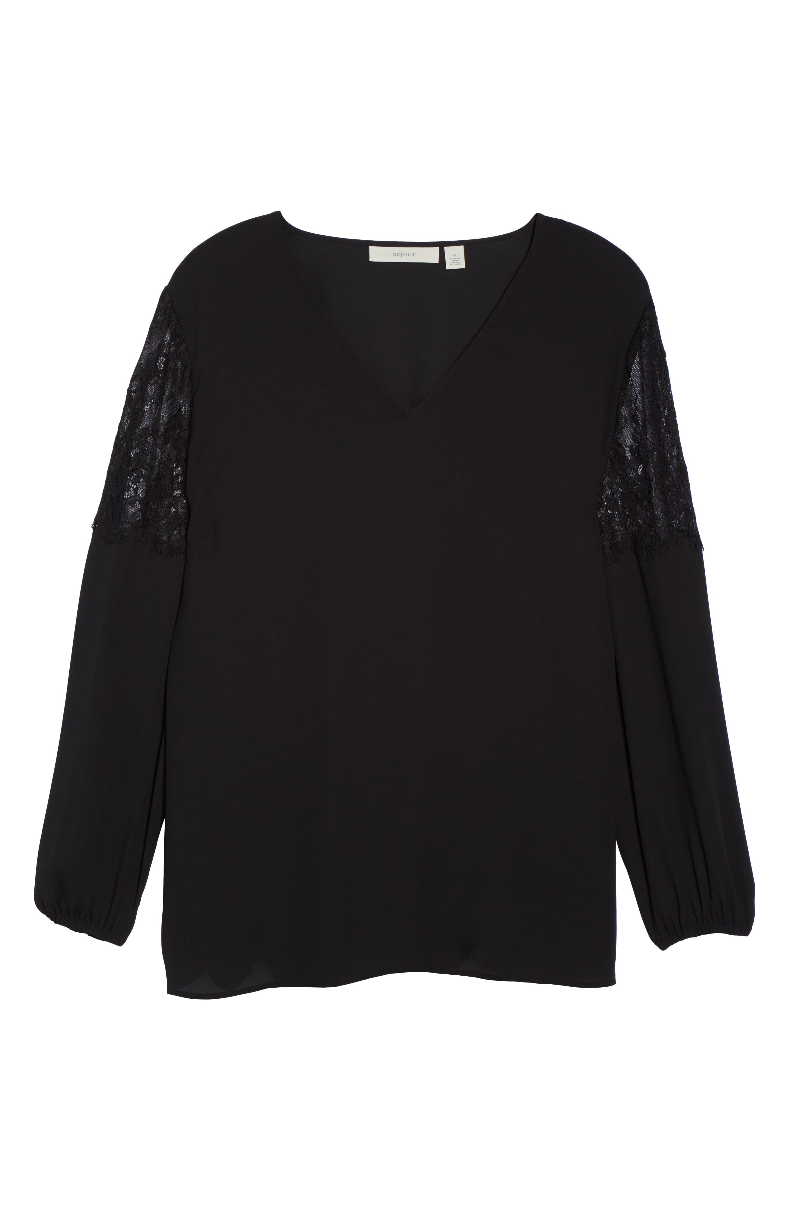 Lace Inset Sleeve Top,                             Alternate thumbnail 6, color,                             001
