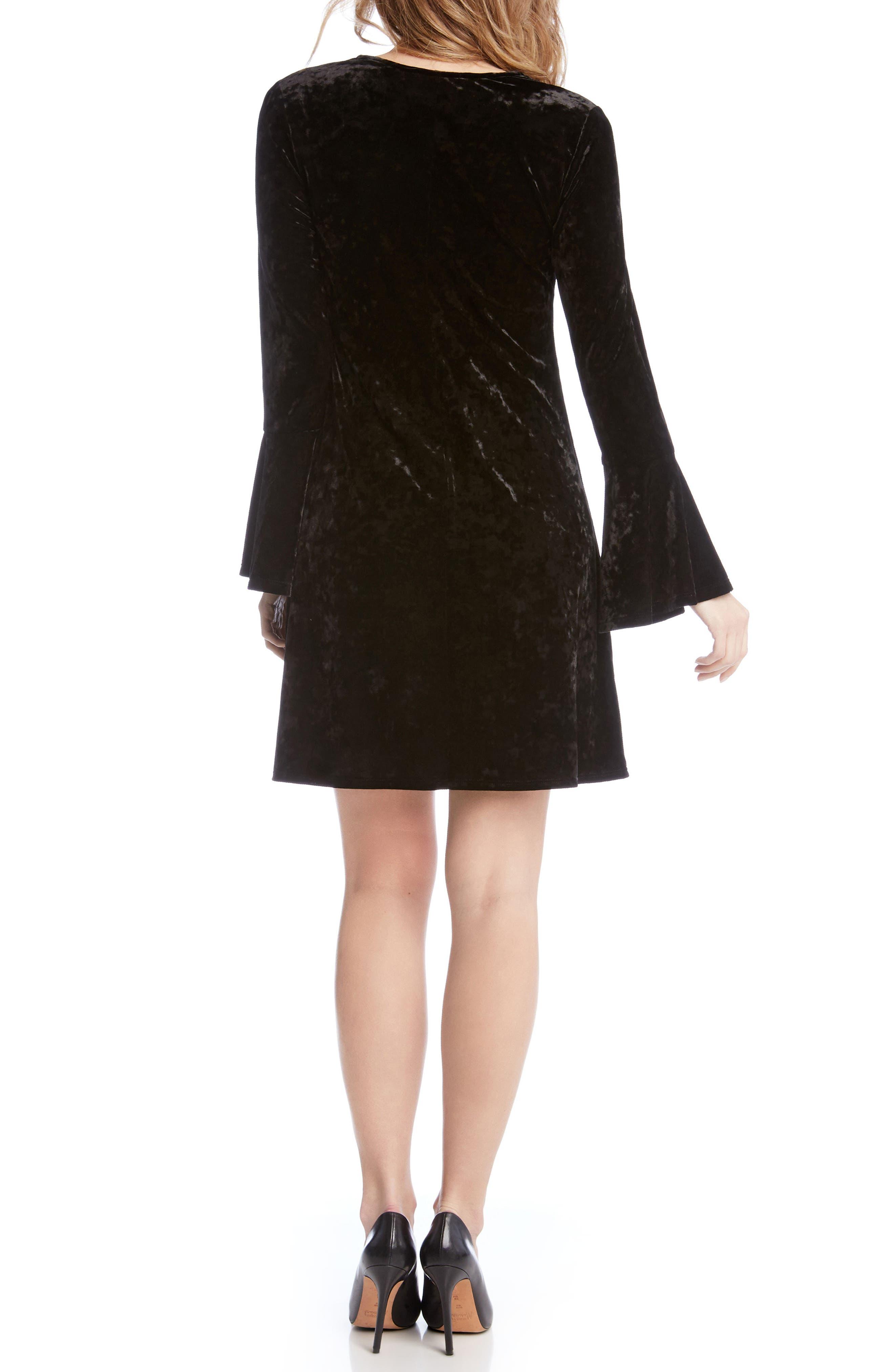 Bell Sleeve Velvet Dress,                             Alternate thumbnail 2, color,                             001