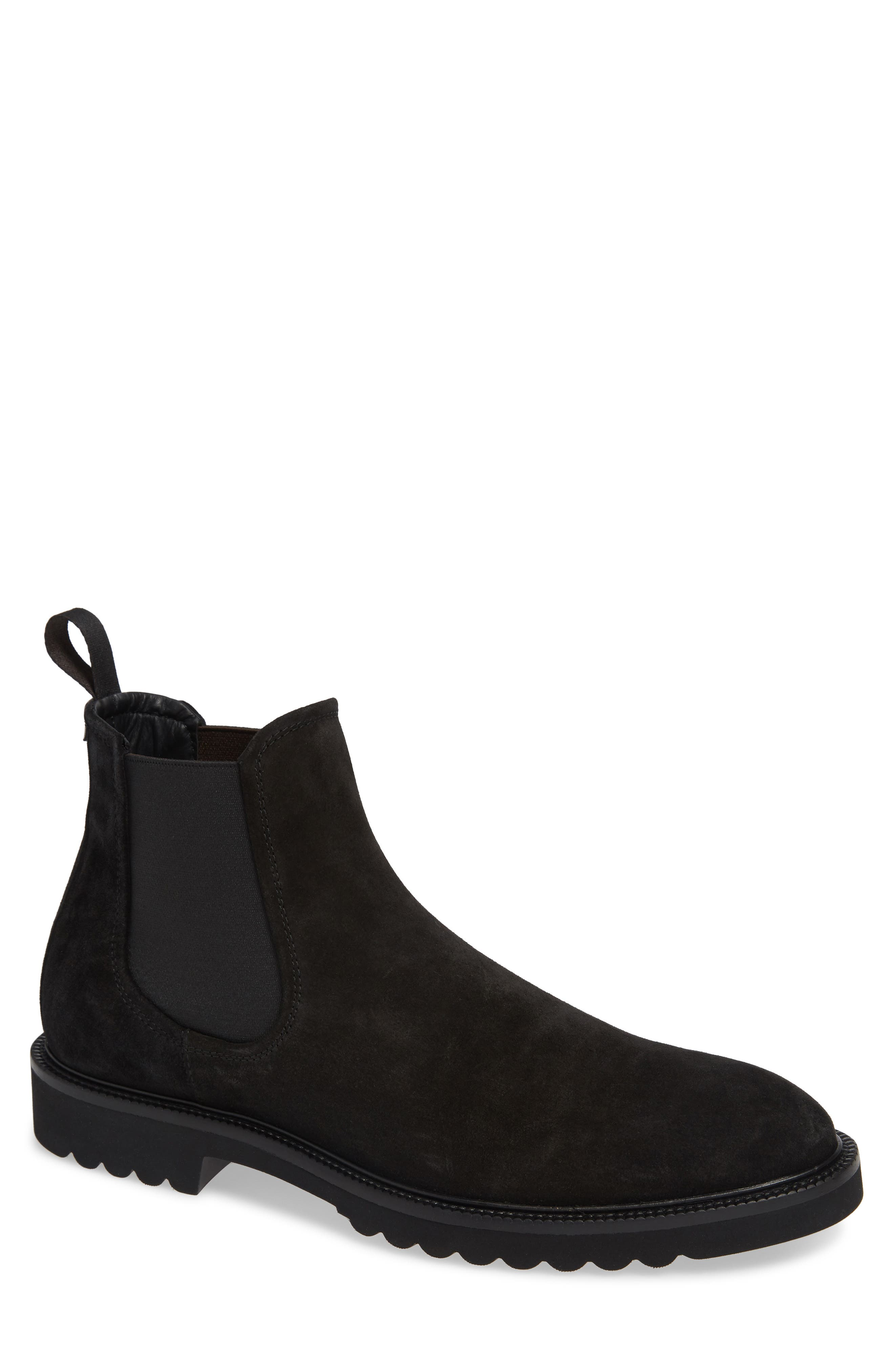 Lugged Chelsea Boot,                             Main thumbnail 1, color,                             BLACK LEATHER