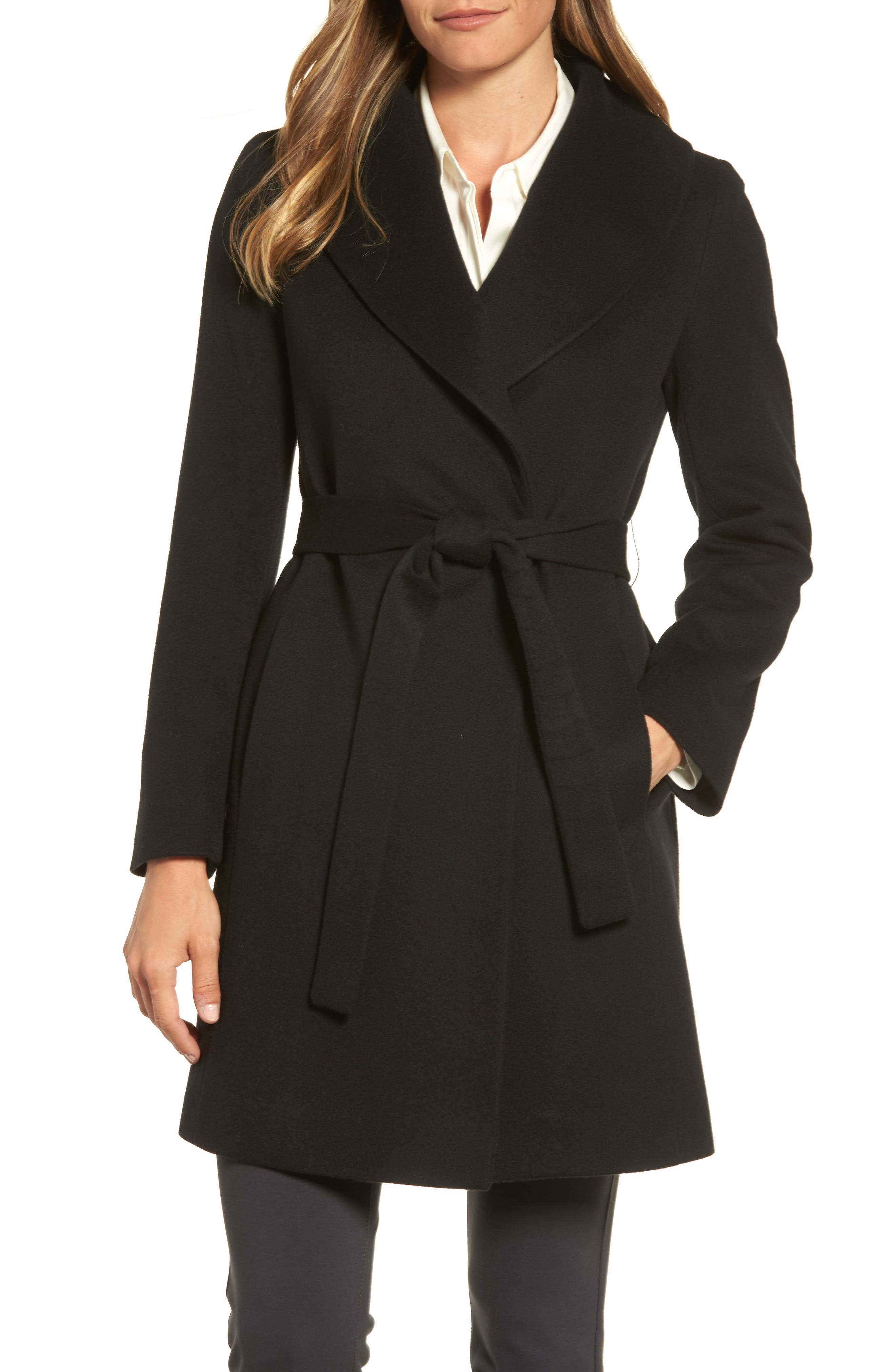 Shawl Collar Cashmere Wrap Coat,                             Main thumbnail 1, color,                             001