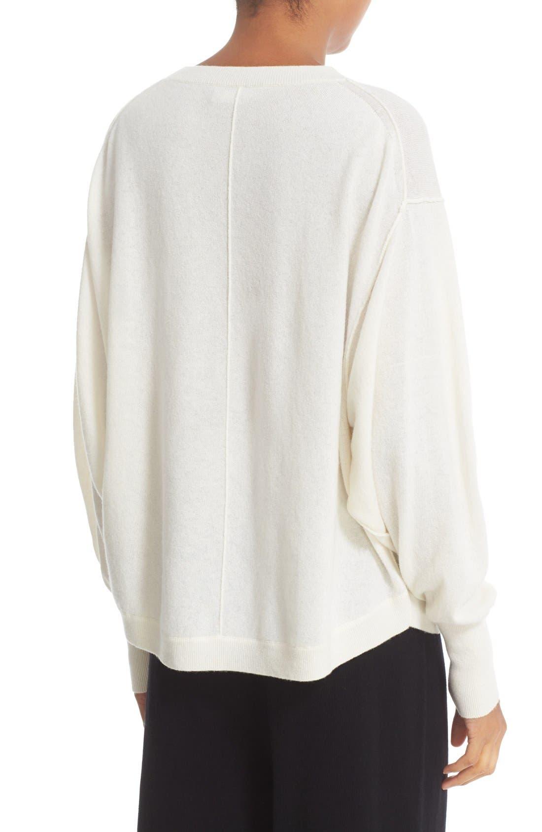 Shirttail Cashmere Sweater,                             Alternate thumbnail 2, color,                             101