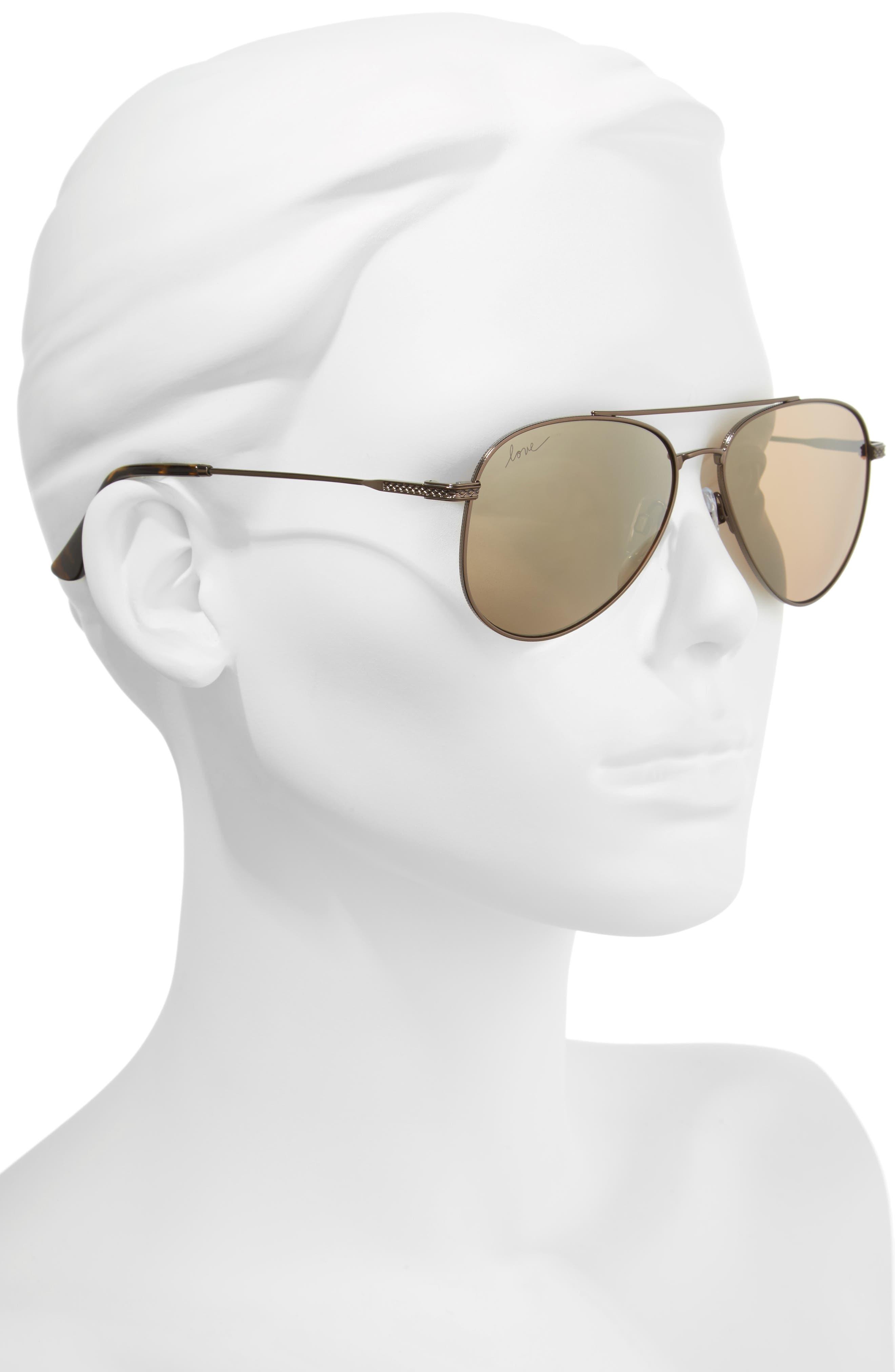 58mm Aviator Sunglasses,                             Alternate thumbnail 5, color,