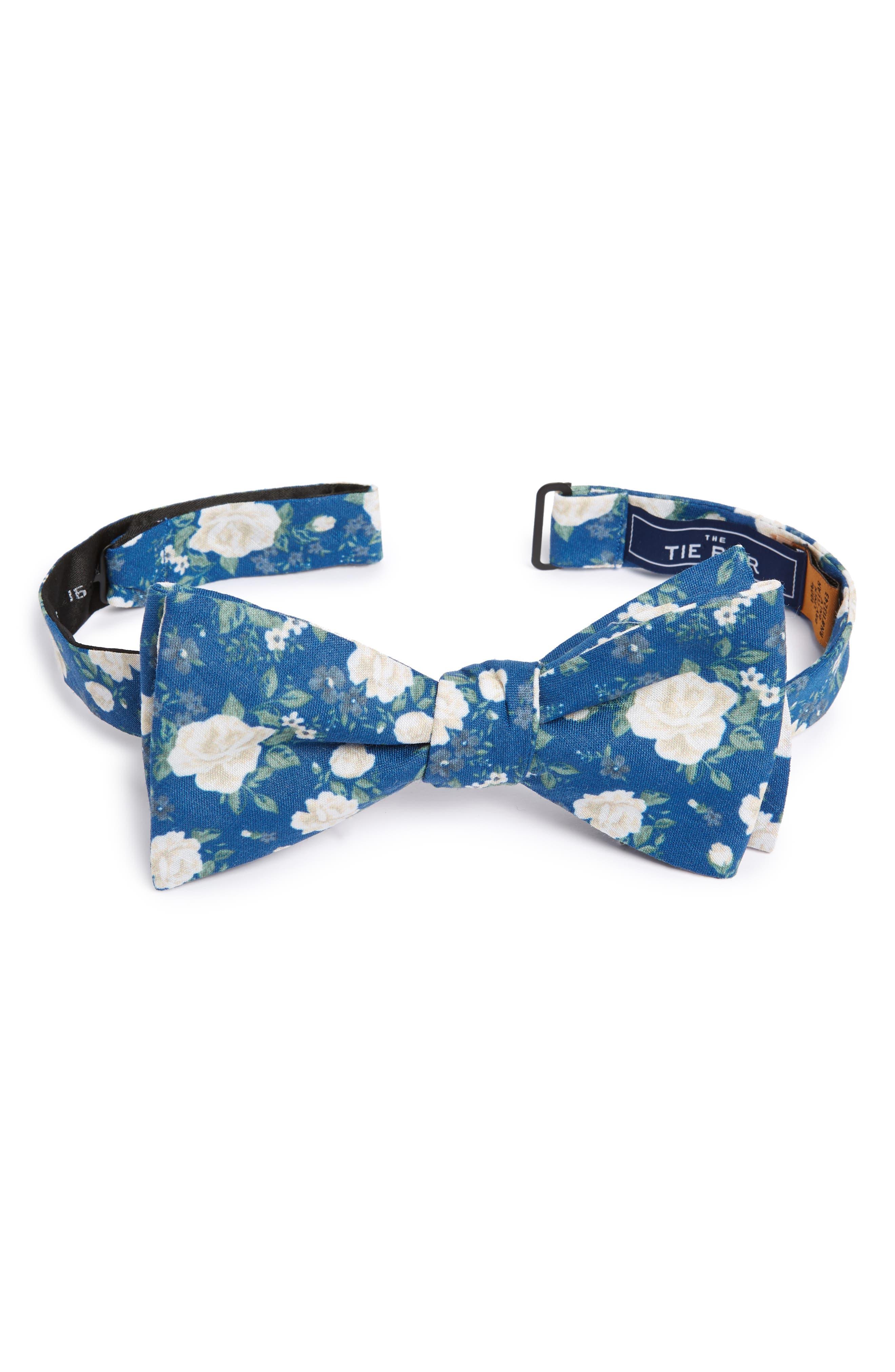 Hodgkiss Flowers Linen Bow Tie,                             Main thumbnail 1, color,                             ROYAL BLUE