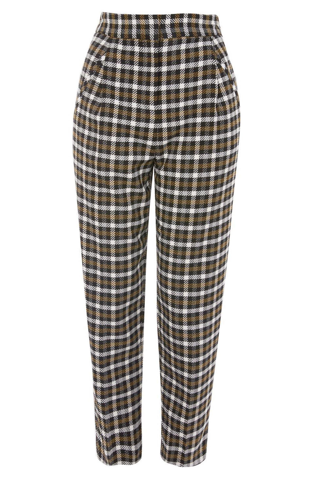 Monica Checked Peg Trousers,                             Alternate thumbnail 3, color,                             001