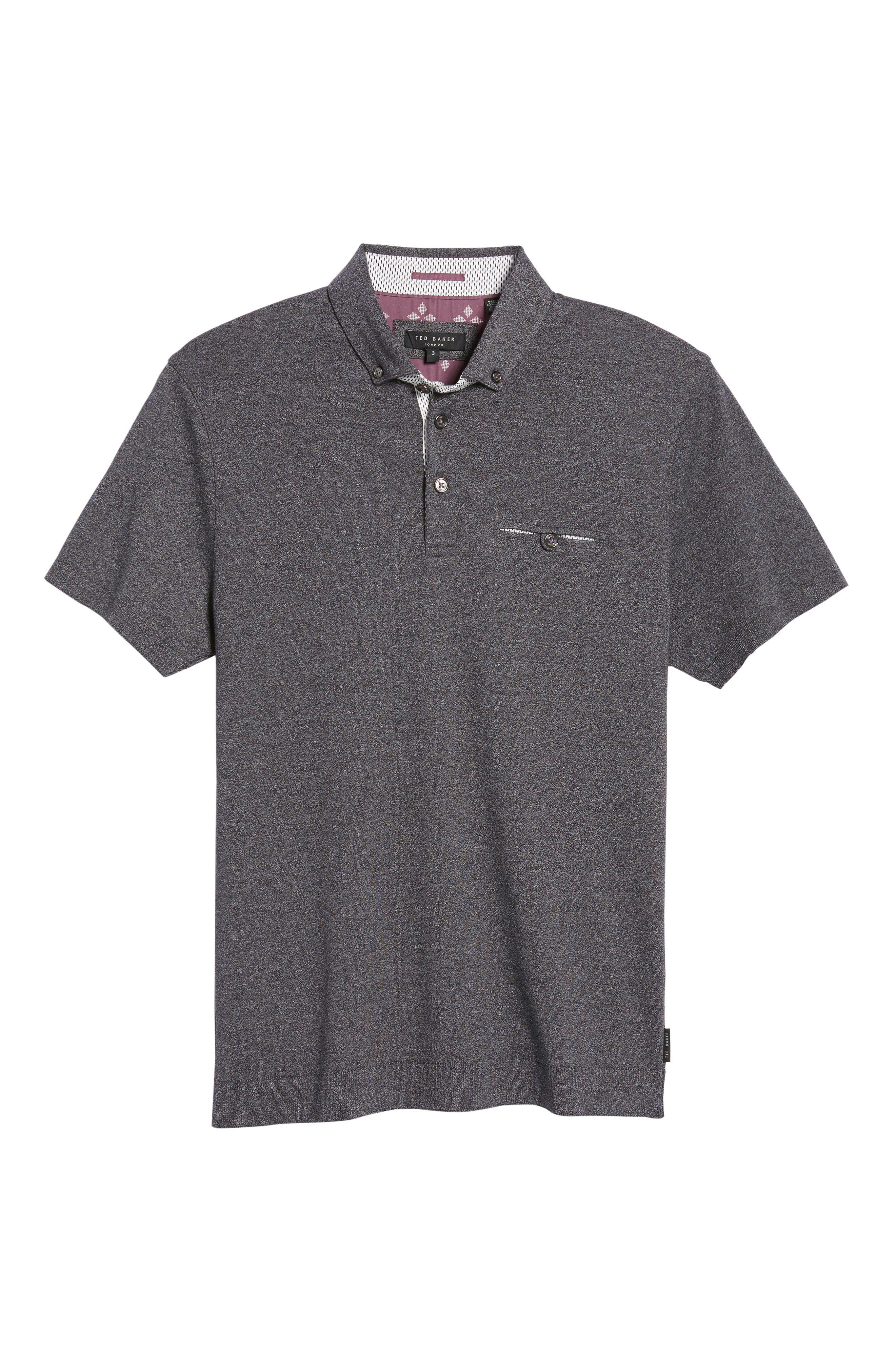 Frankiy Button Collar Polo,                             Alternate thumbnail 6, color,                             001