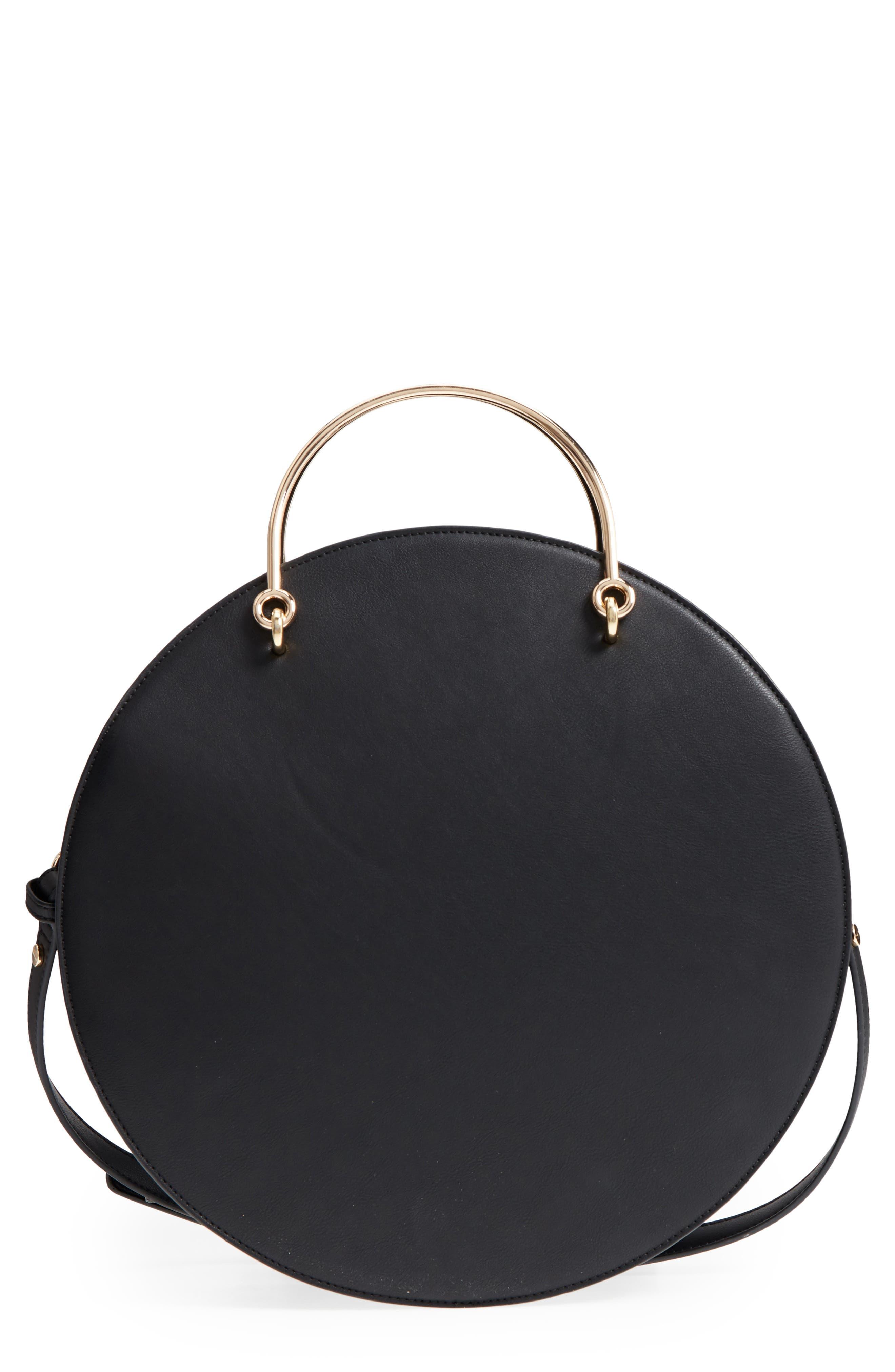 Mali + Lili Vegan Leather Round Top Handle Bag,                             Main thumbnail 1, color,                             001