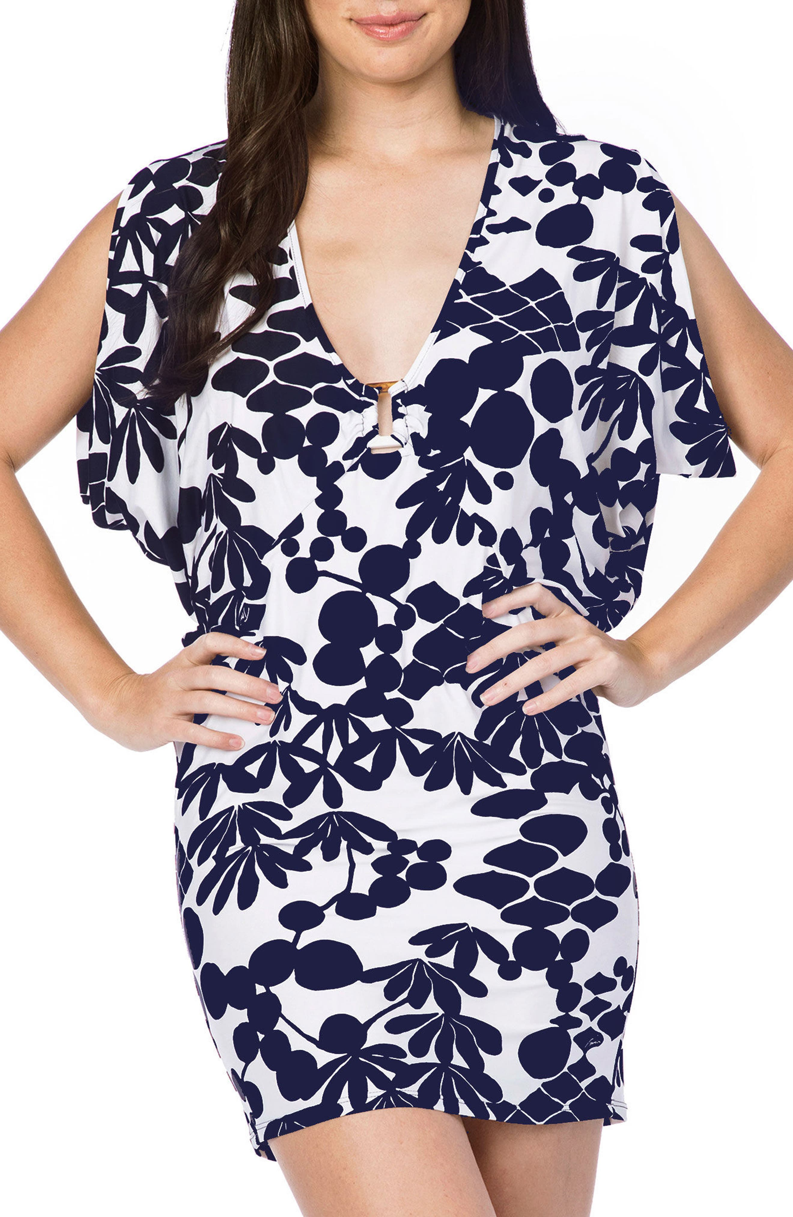 Bali Blossoms Cover-Up Tunic,                             Main thumbnail 1, color,                             MIDNIGHT