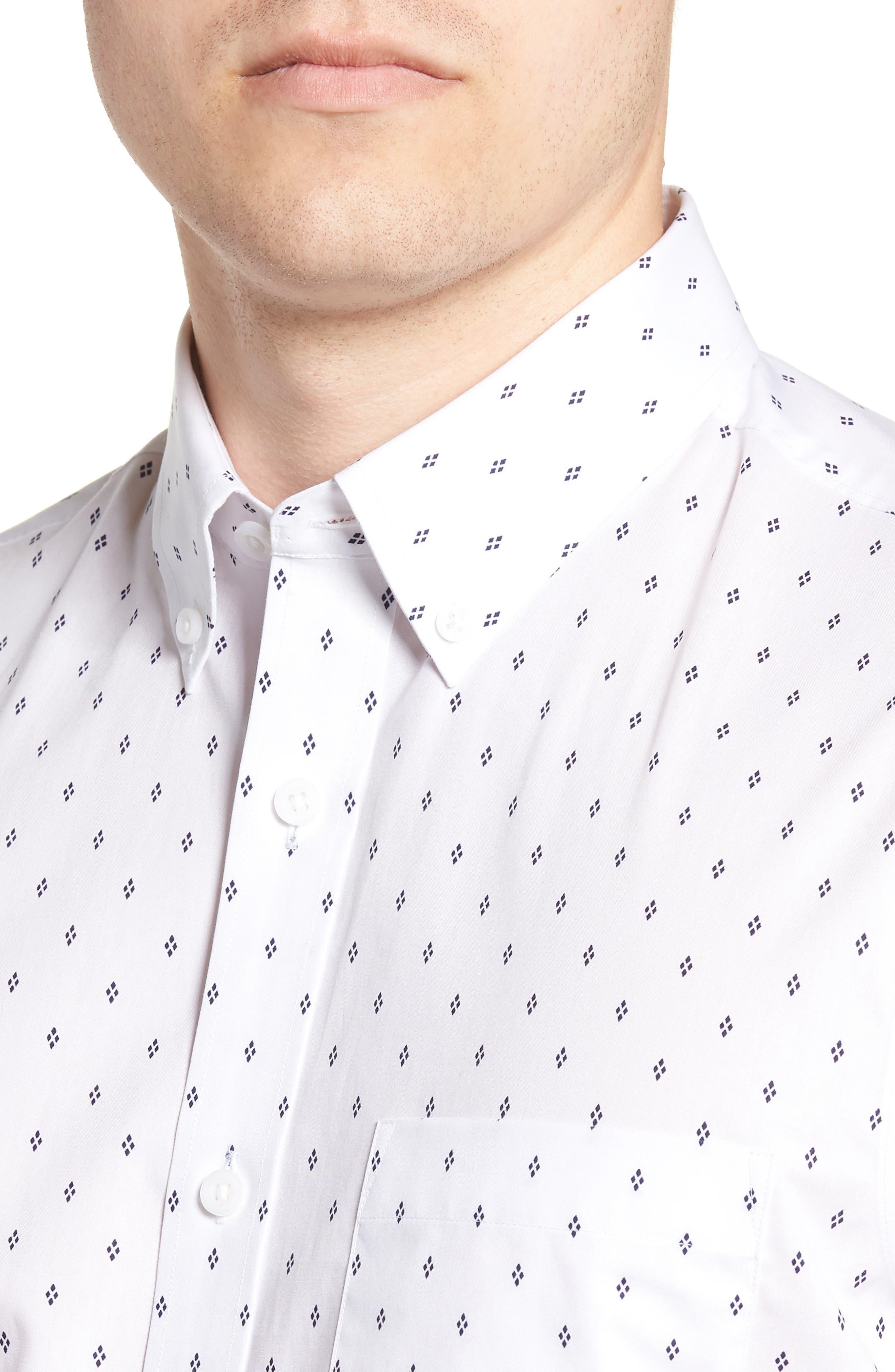 Slim Fit Non-Iron Print Sport Shirt,                             Alternate thumbnail 4, color,                             WHITE NAVY IRIS DIAMOND
