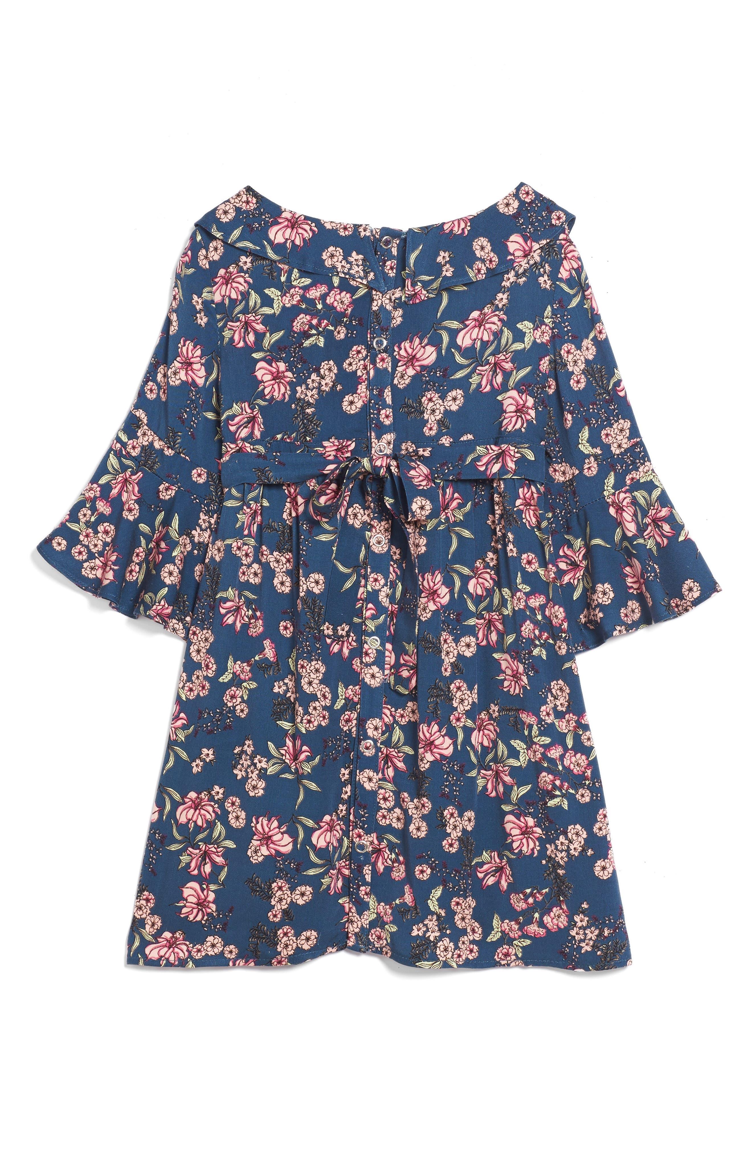 For Love & Lemons Juniper Floral Bell Sleeve Dress,                             Alternate thumbnail 2, color,                             410