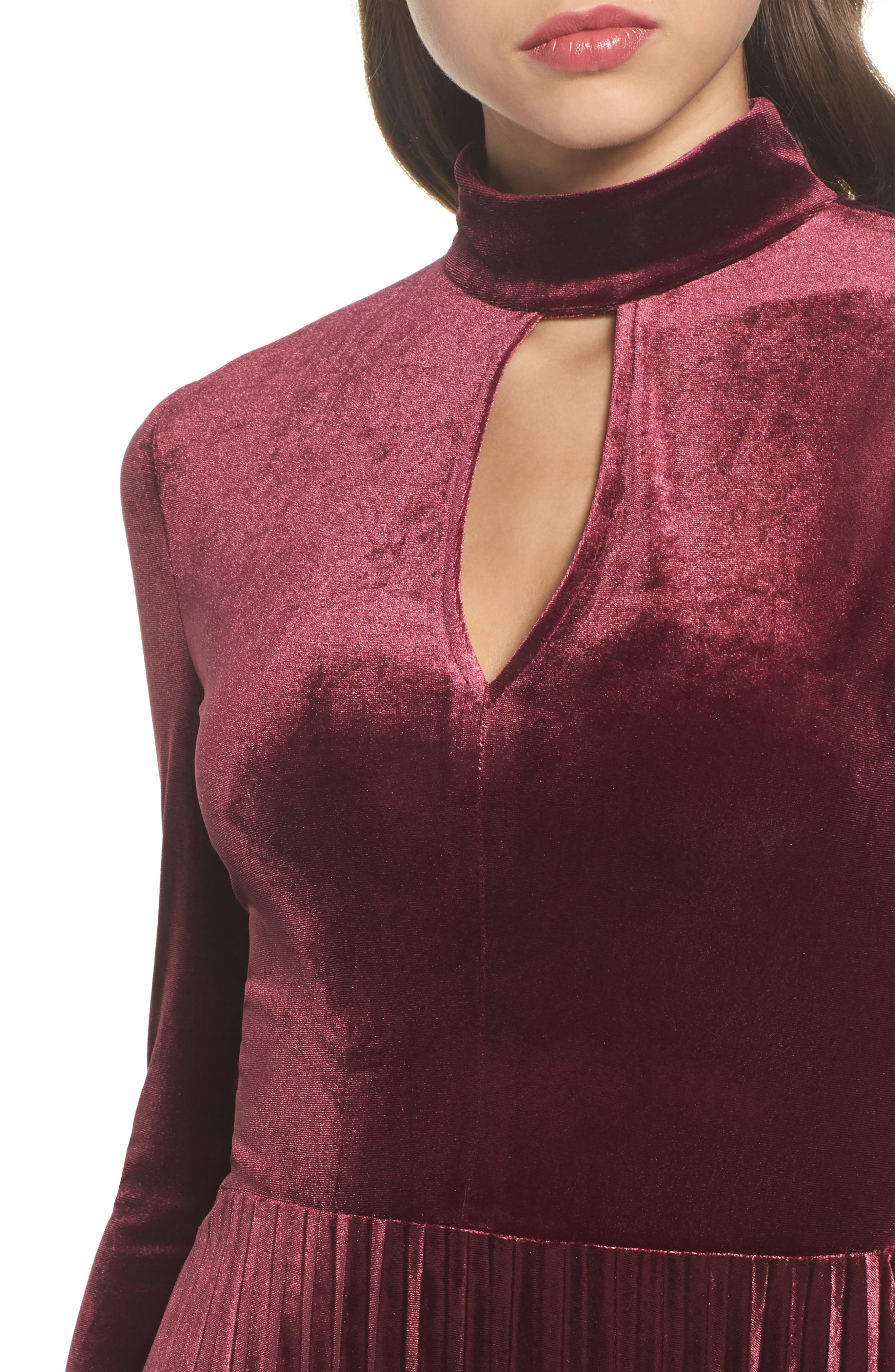 Velvet Midi Dress,                             Alternate thumbnail 4, color,                             930