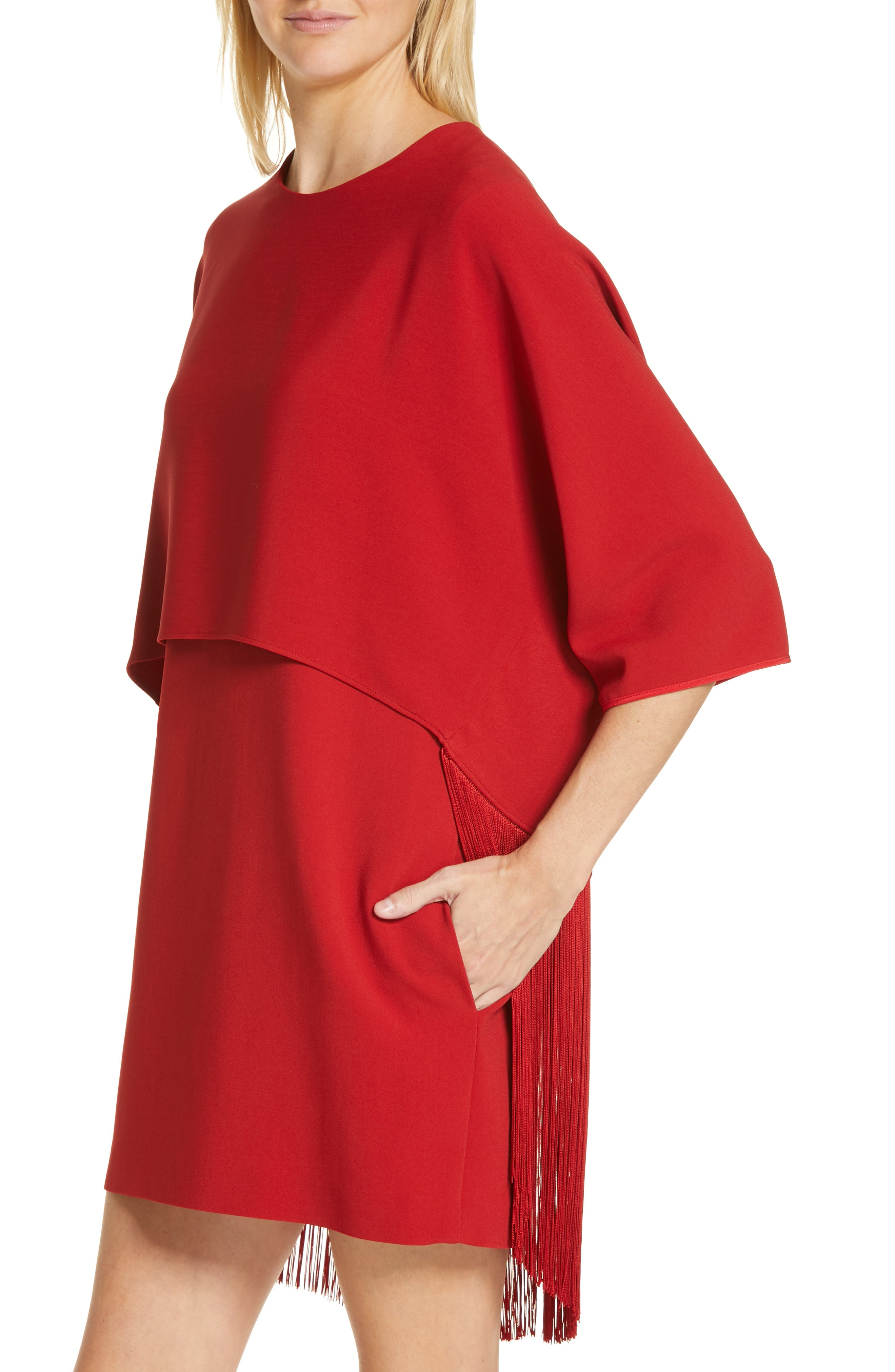 Fringe Overlay Stretch Cady Dress,                             Alternate thumbnail 4, color,                             RED ROMANCE