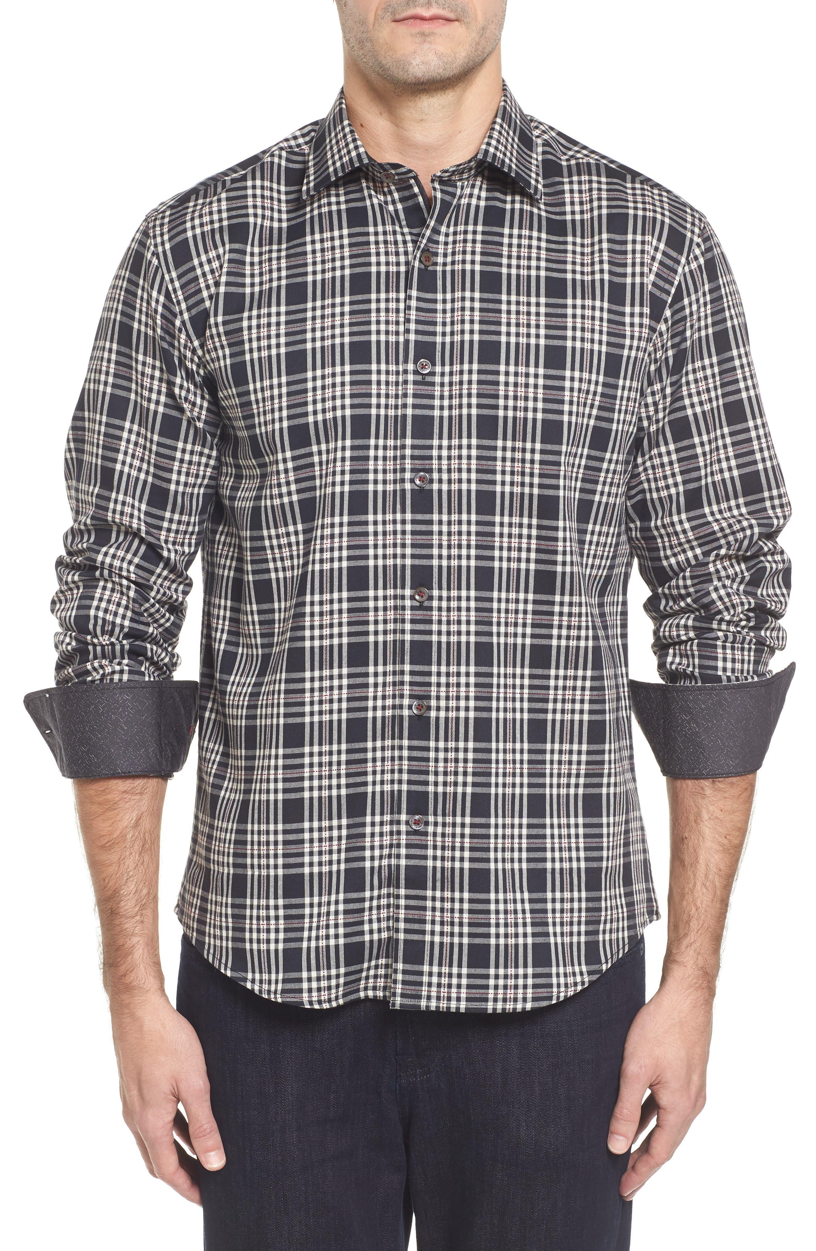 Classic Fit Plaid Sport Shirt,                         Main,                         color, 001