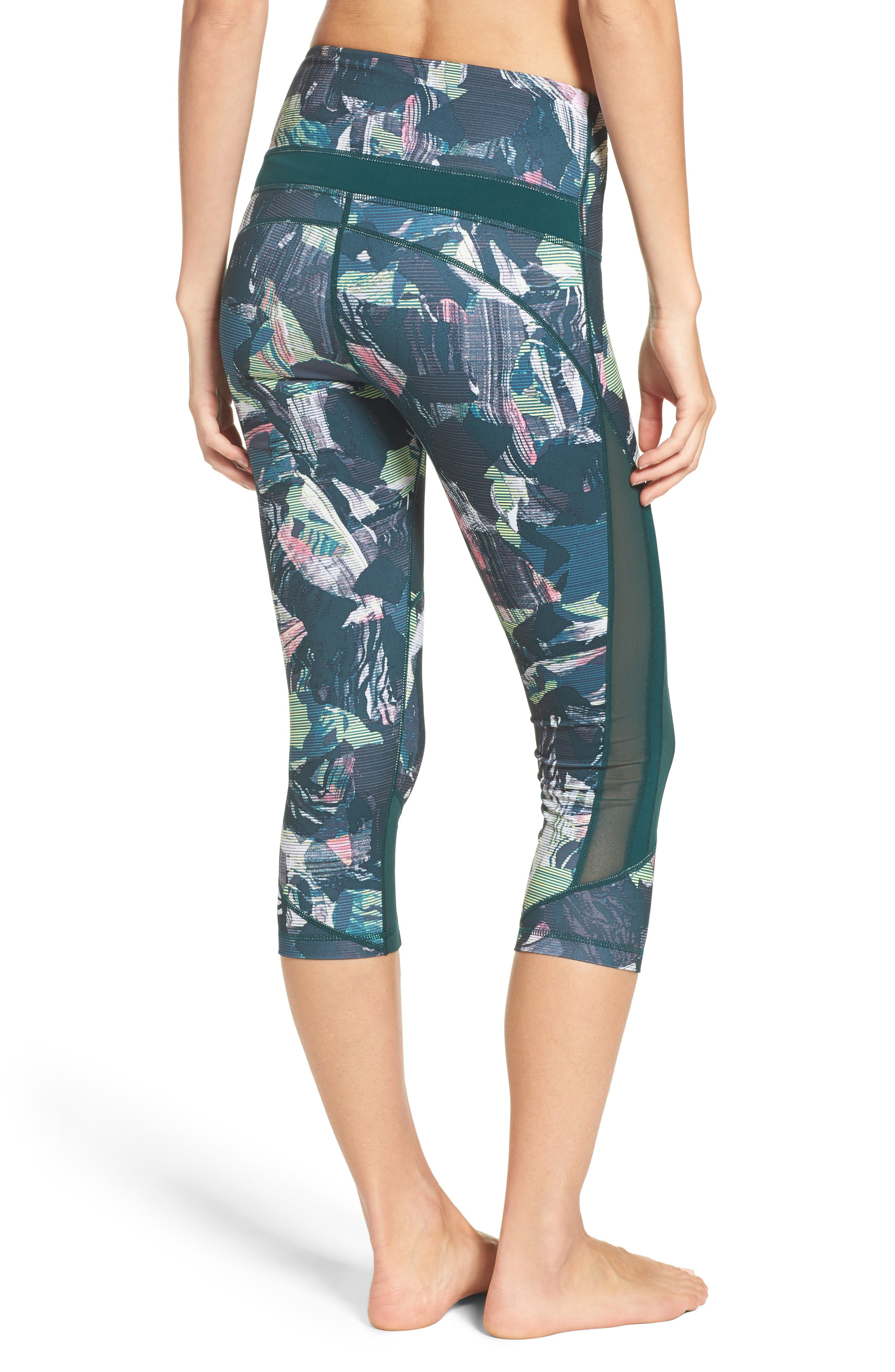 Sheer to There High Waist Crop Leggings,                             Alternate thumbnail 4, color,
