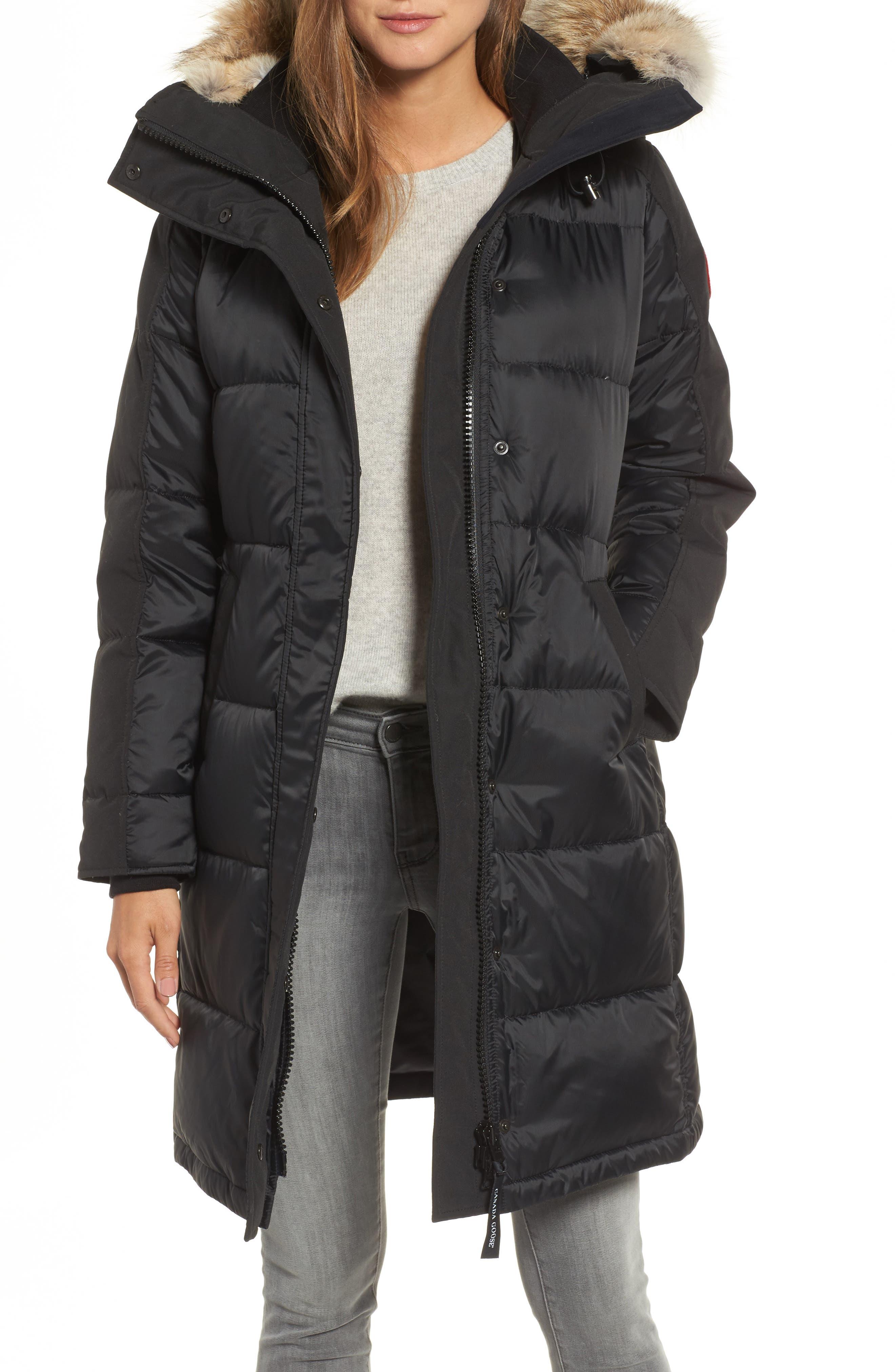 Rowley Down Parka with Genuine Fur Collar,                             Main thumbnail 1, color,                             001