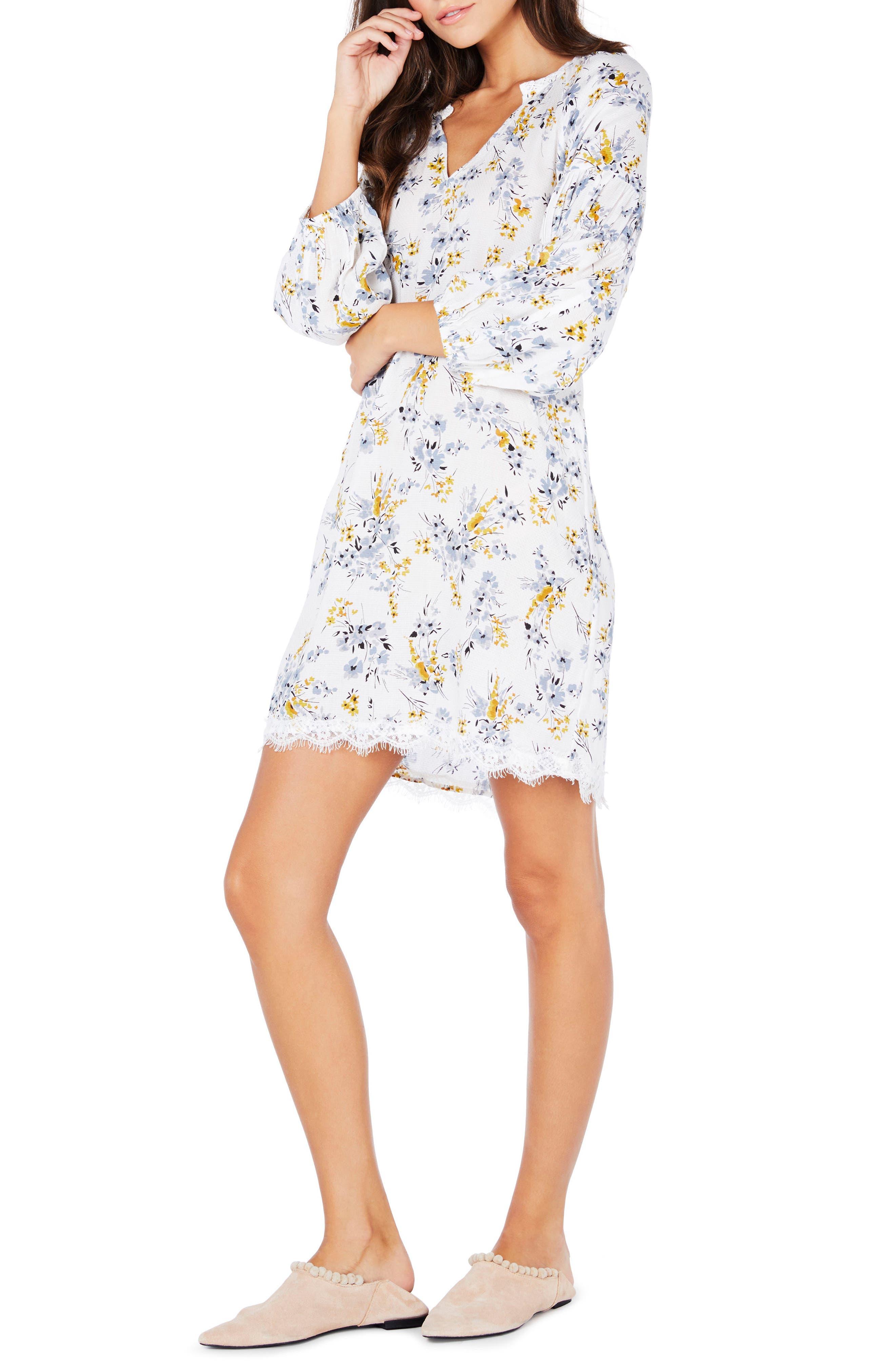 Floral Lace Trim Peasant Dress,                             Alternate thumbnail 3, color,                             722