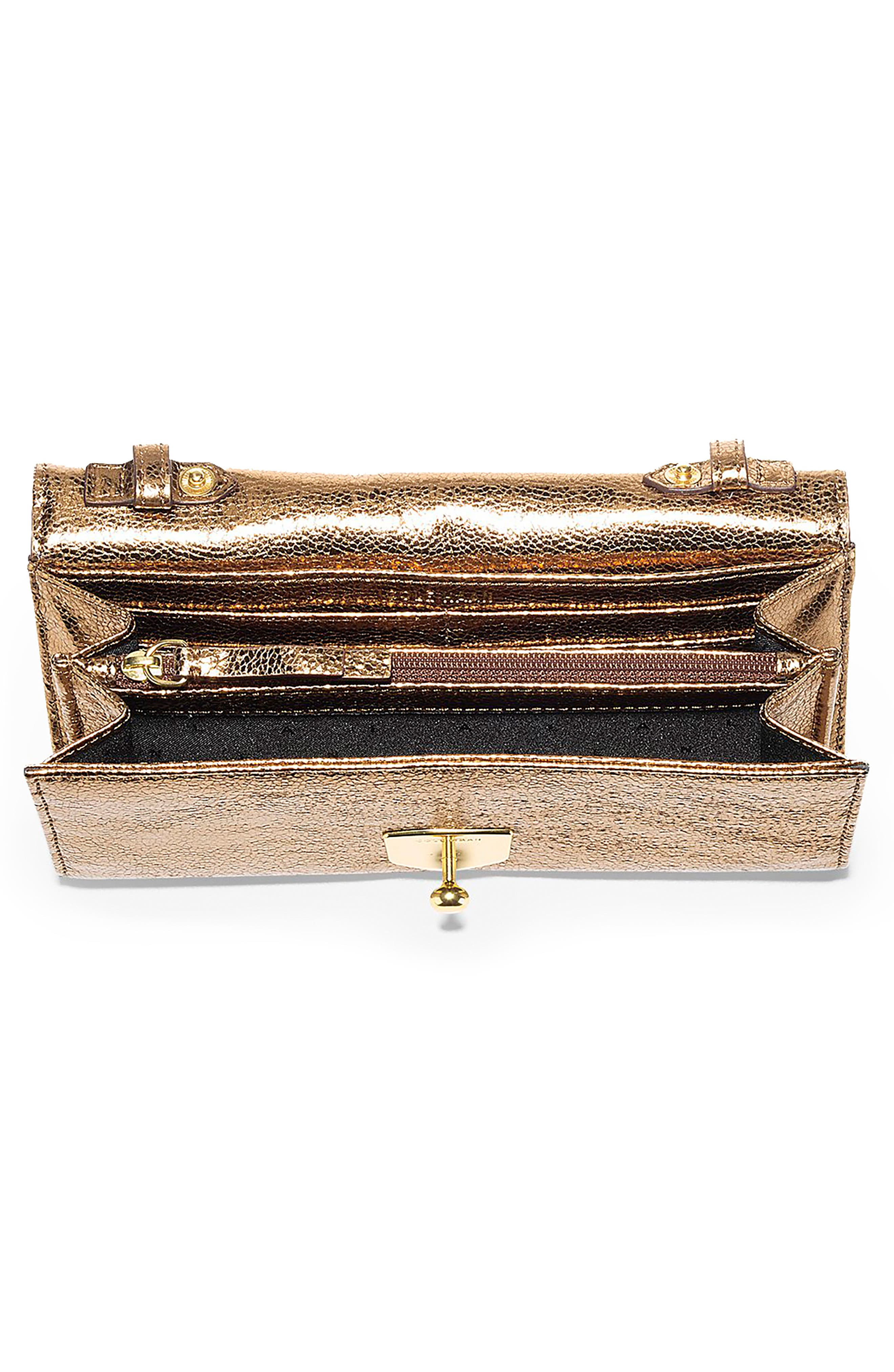 Marli Studded Metallic Leather Convertible Smartphone Clutch,                             Alternate thumbnail 6, color,