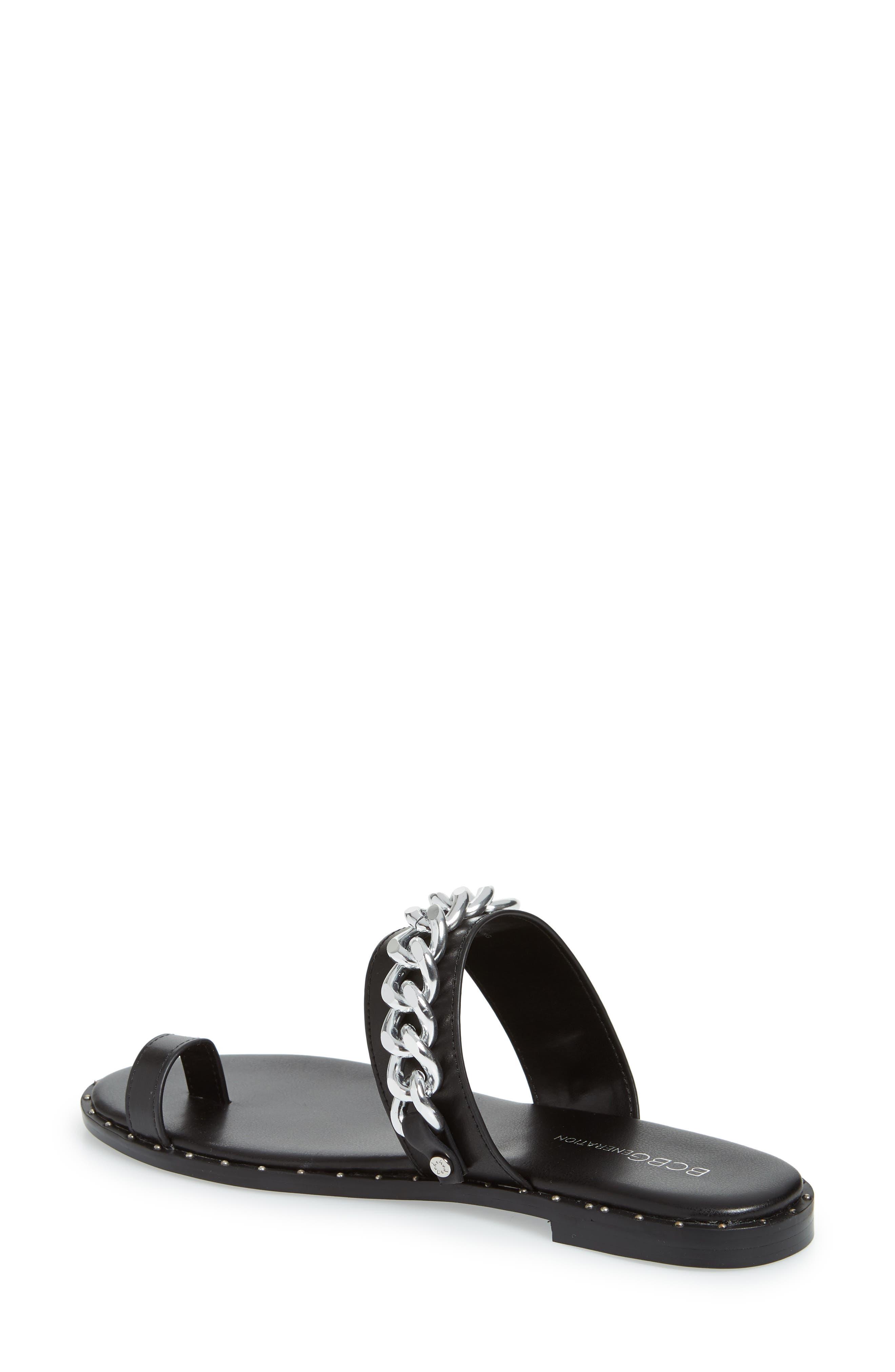 Zola Chain Slide Sandal,                             Alternate thumbnail 2, color,                             BLACK
