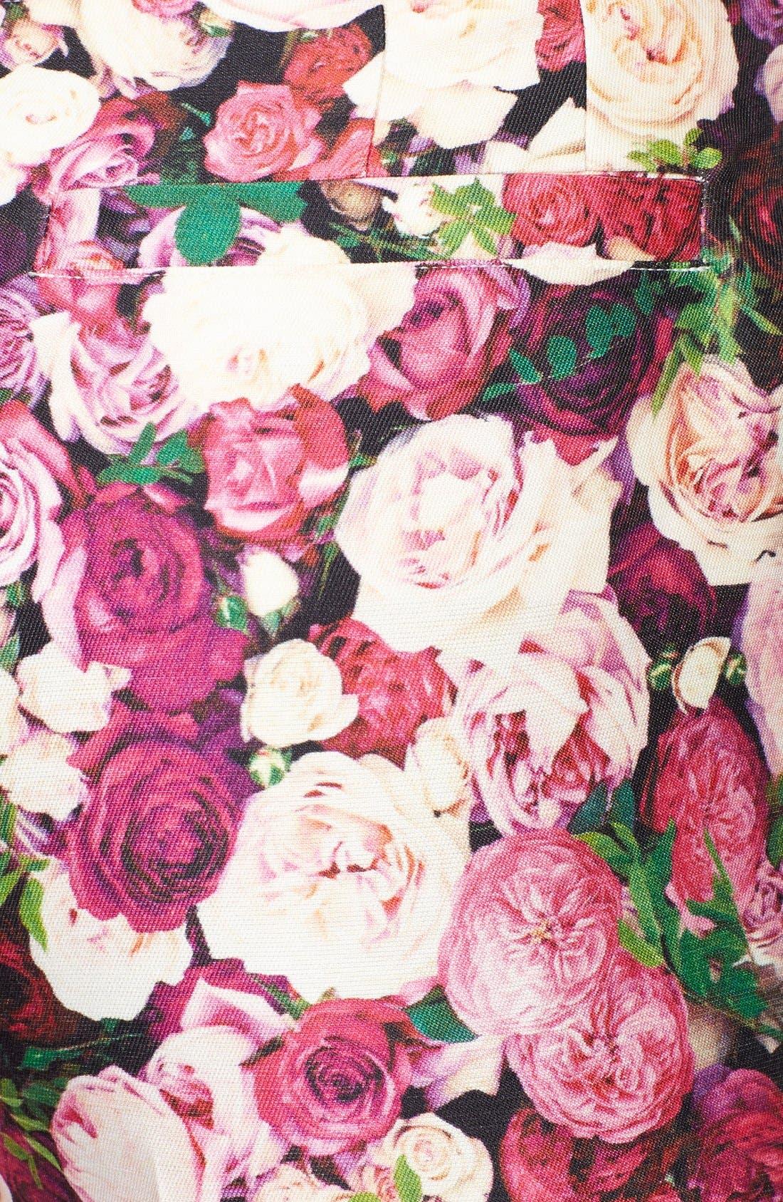 KATE SPADE NEW YORK,                             'jackie' rose print cotton & silk capri pants,                             Alternate thumbnail 3, color,                             655