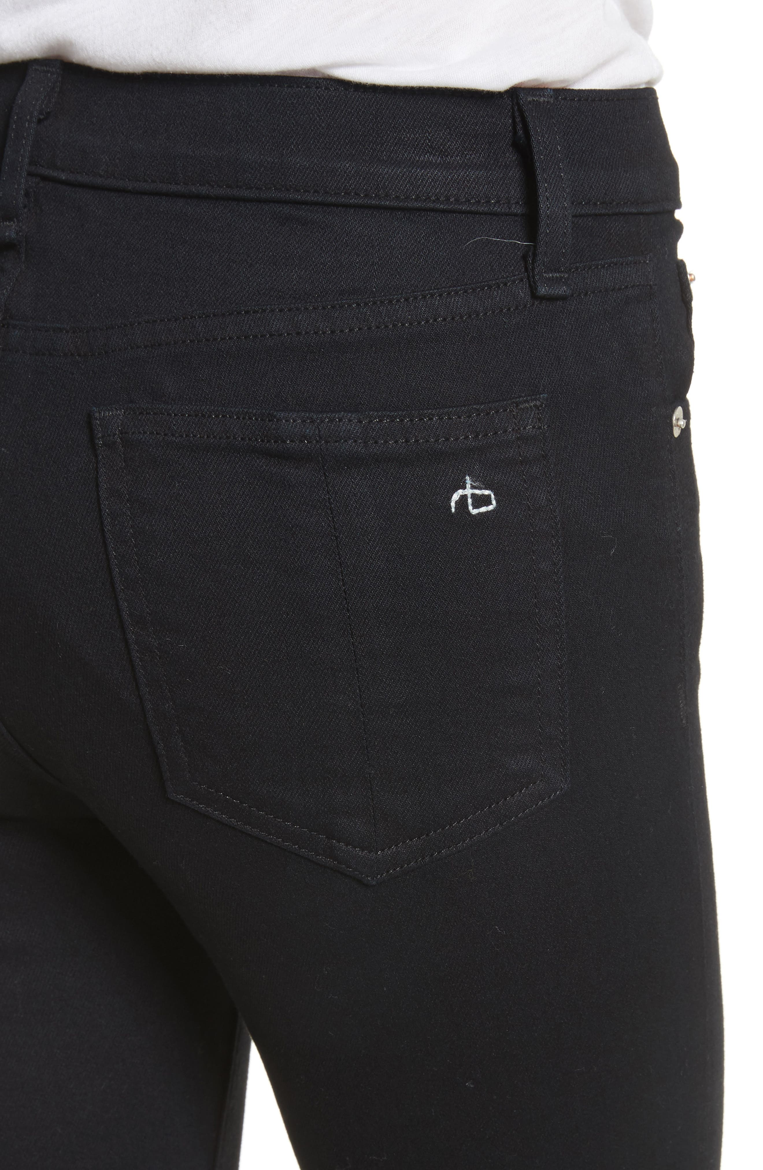 High Waist Stovepipe Jeans,                             Alternate thumbnail 4, color,                             001