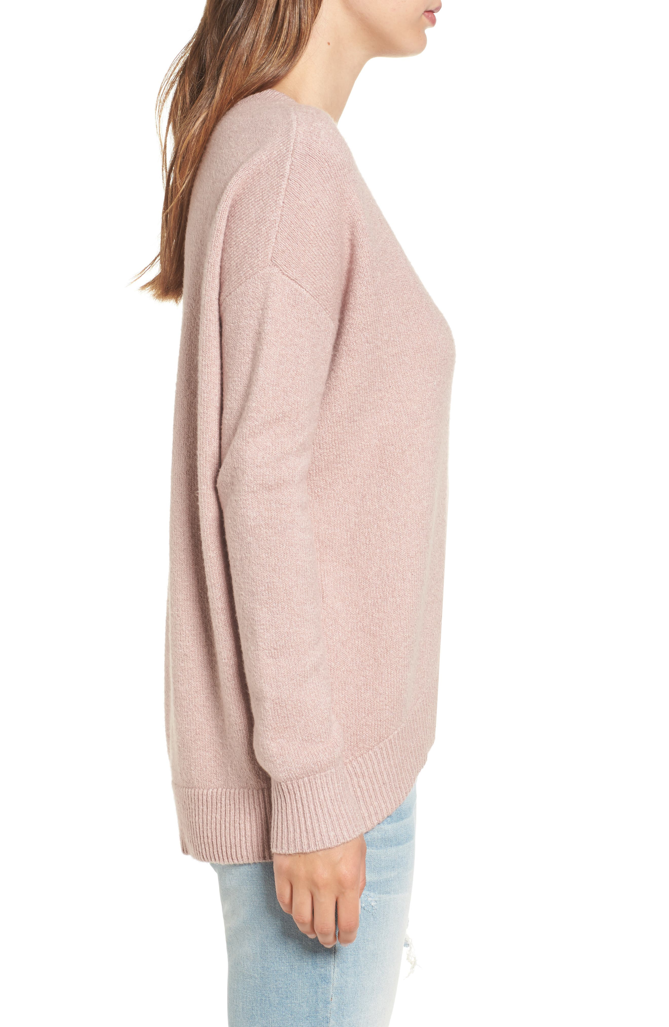 V-Neck High/Low Sweater,                             Alternate thumbnail 9, color,