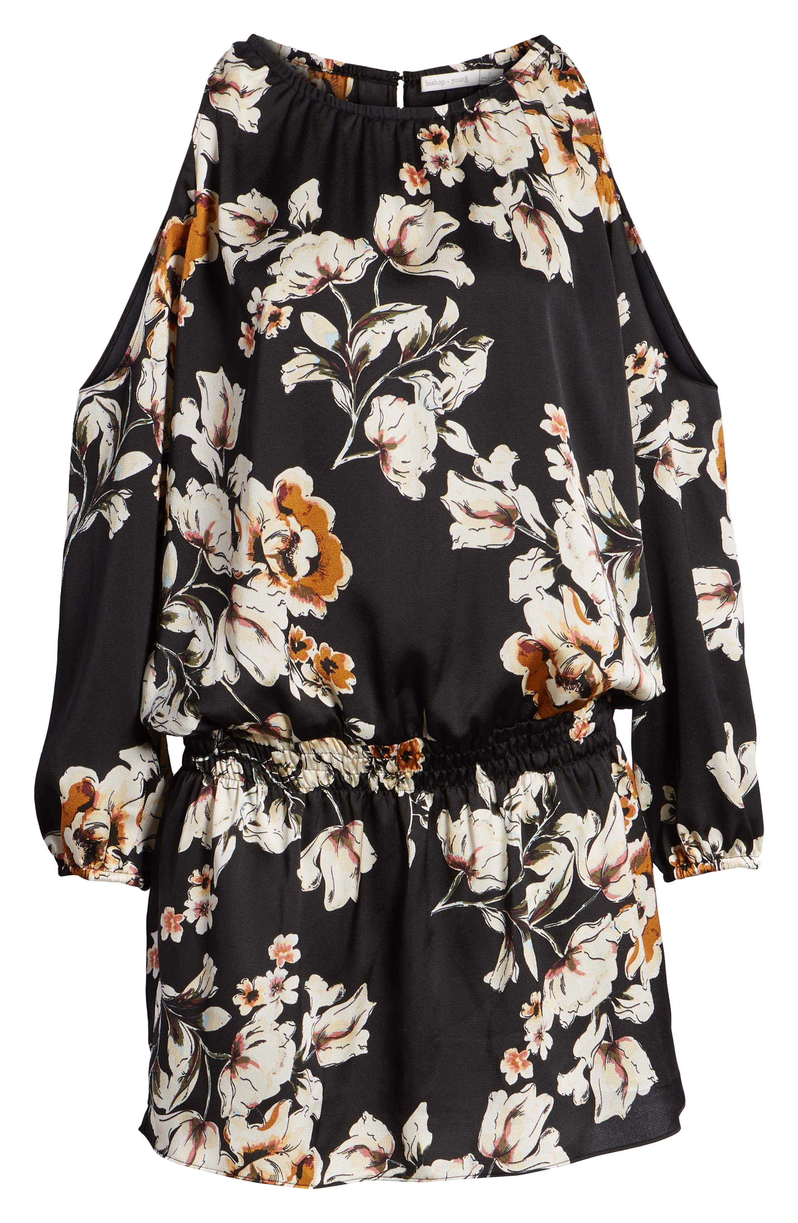 Bishop + Young Cold Shoulder Mini Dress,                             Alternate thumbnail 6, color,                             BLACK