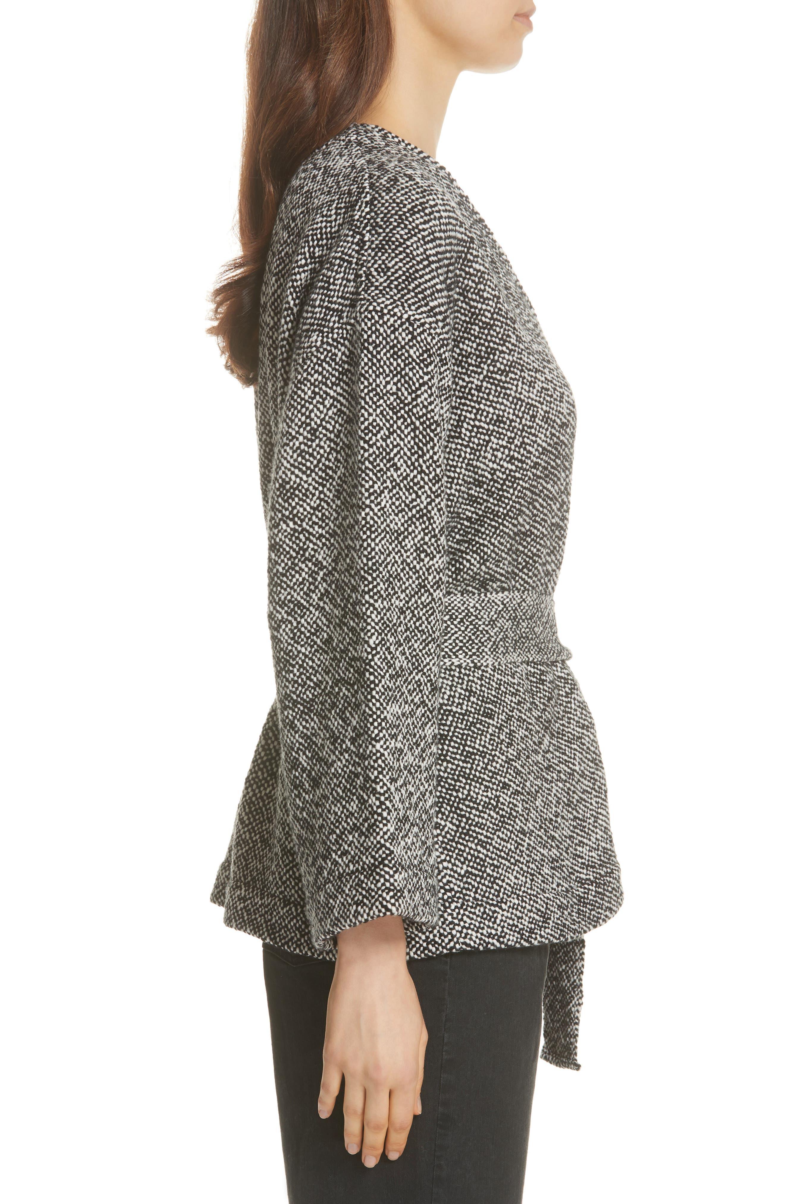 Cotton Tweed Kimono Jacket,                             Alternate thumbnail 3, color,                             BLACK