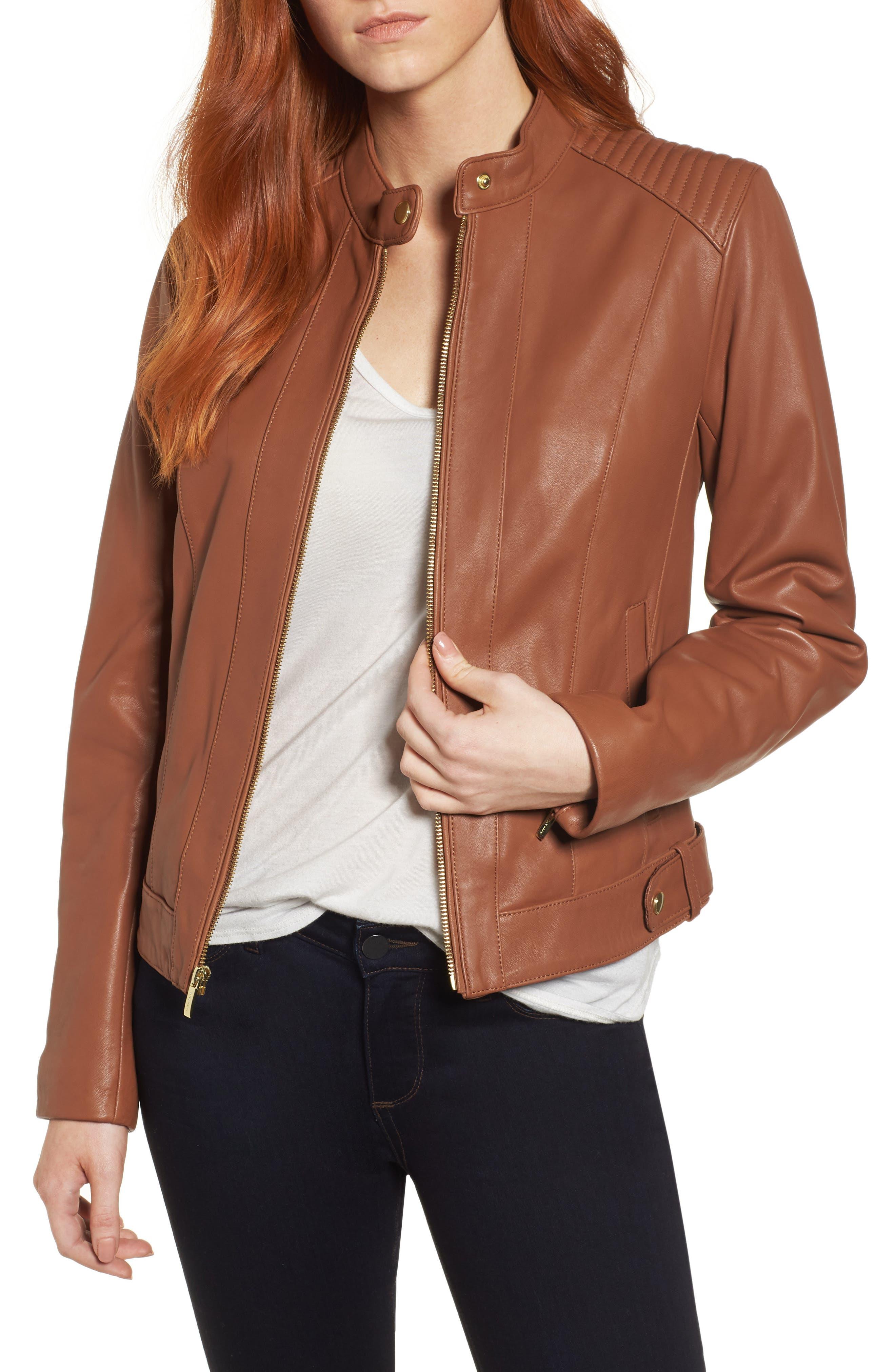 Leather Moto Jacket,                             Main thumbnail 1, color,                             NO_COLOR
