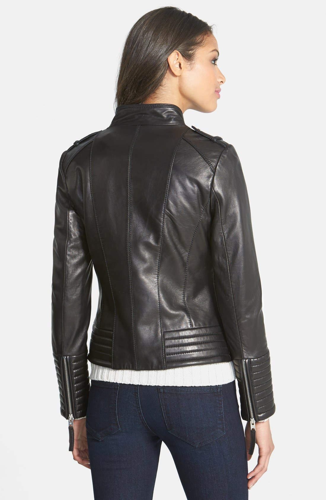Quilt Detail Leather Jacket,                             Alternate thumbnail 2, color,                             001