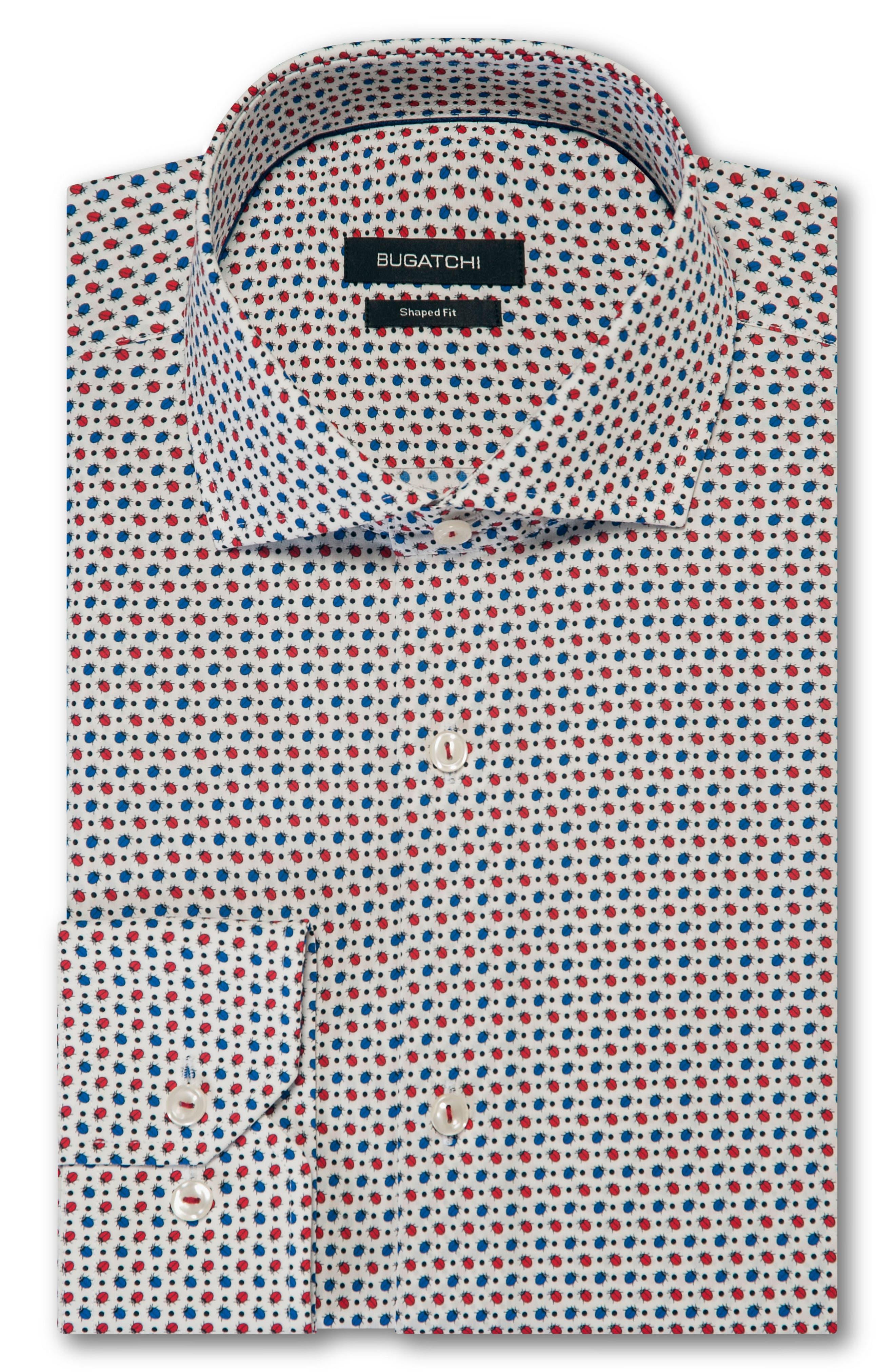 Trim Fit Print Dress Shirt,                             Alternate thumbnail 5, color,                             RUBY
