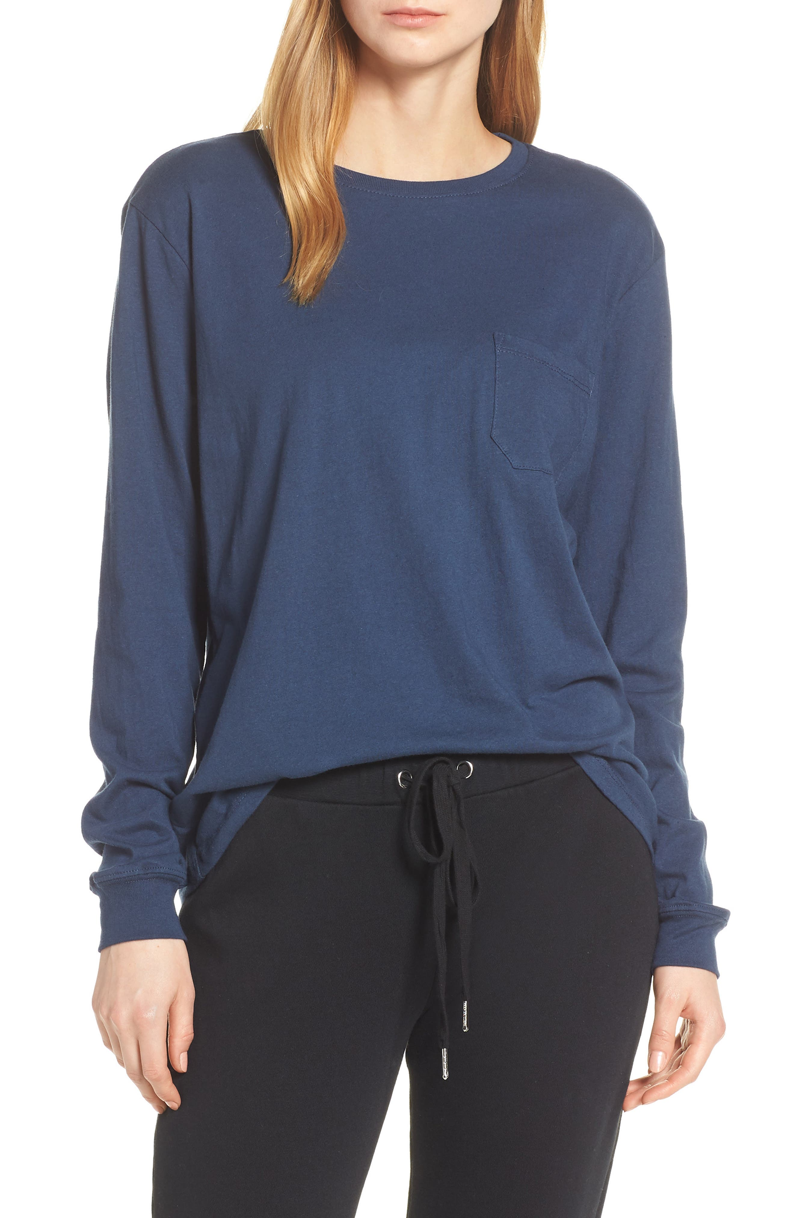 RICHER POORER,                             Long Sleeve Pocket Tee,                             Main thumbnail 1, color,                             NAVY