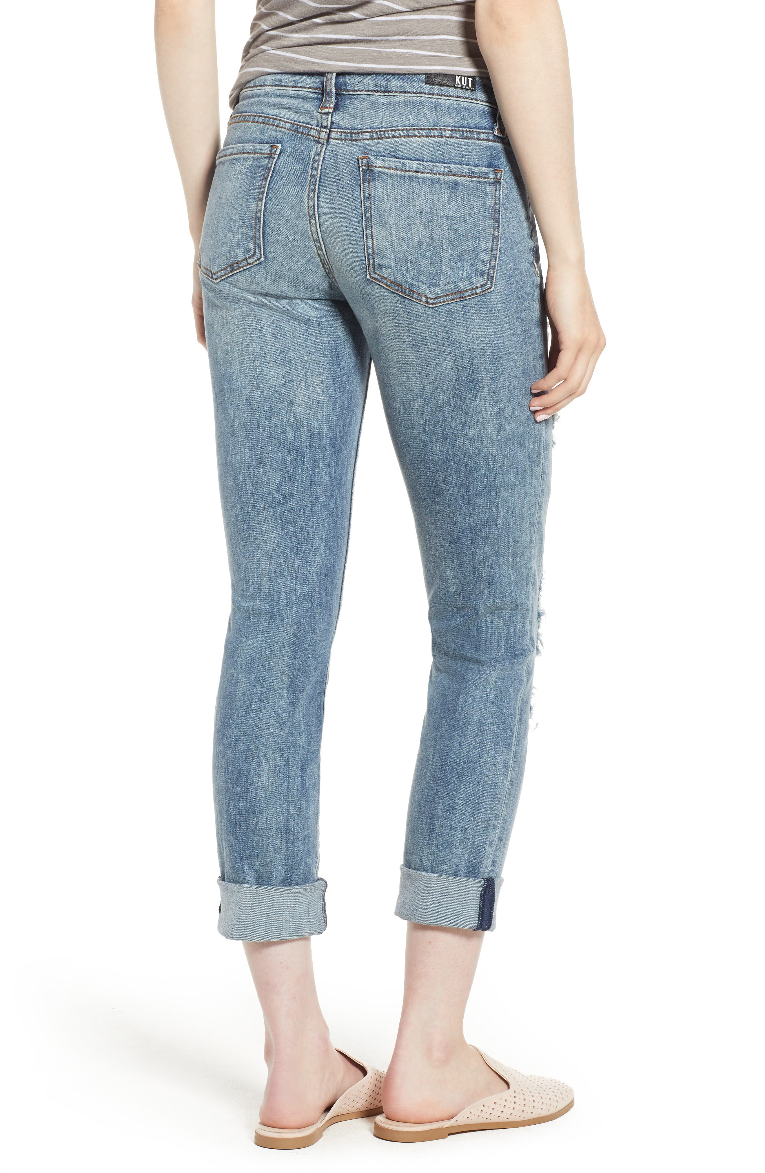 KUT from the Kloth Catherine Ripped Boyfriend Jeans,                             Alternate thumbnail 2, color,