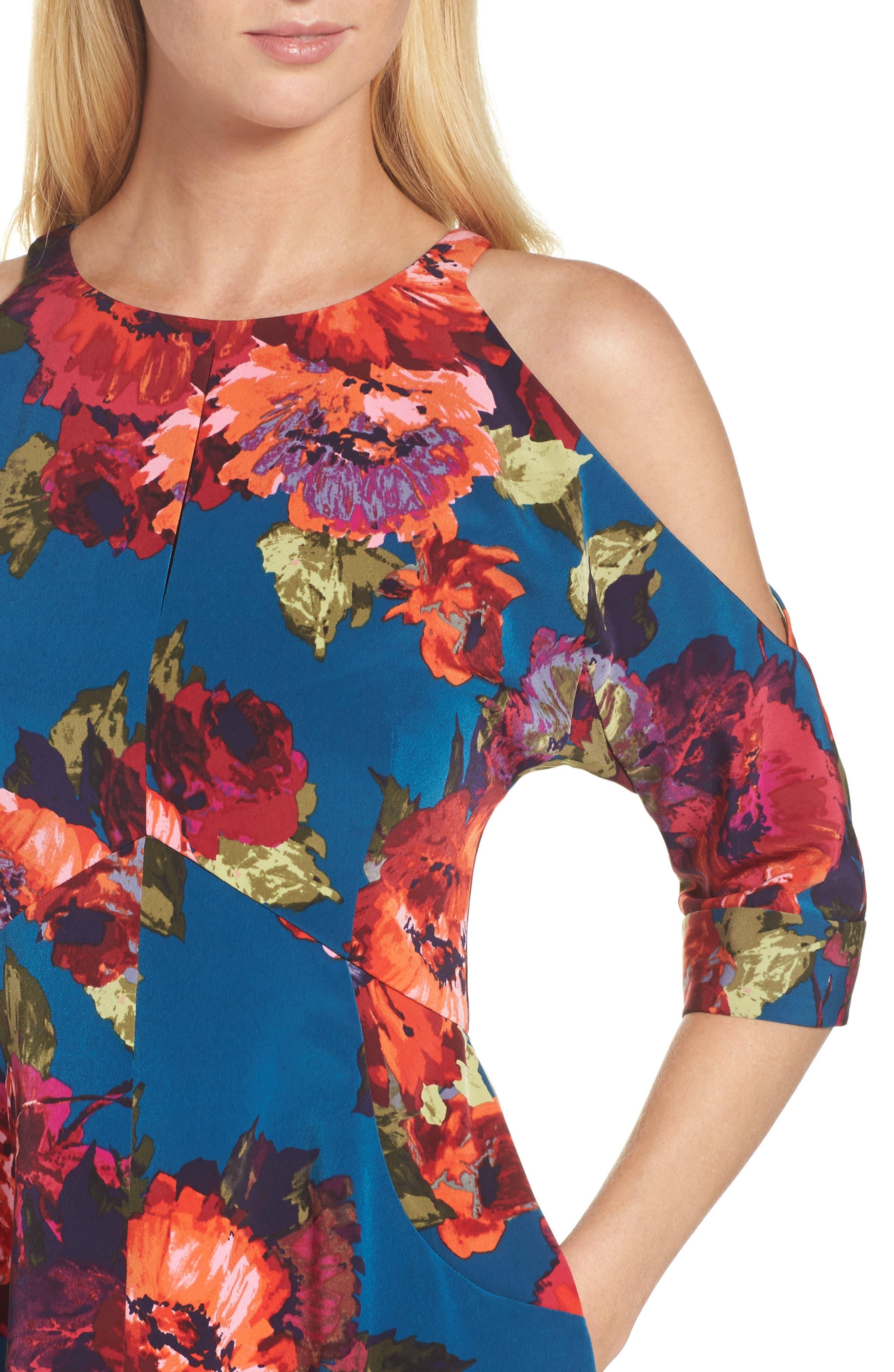 Cold Shoulder Fit & Flare Dress,                             Alternate thumbnail 4, color,                             490