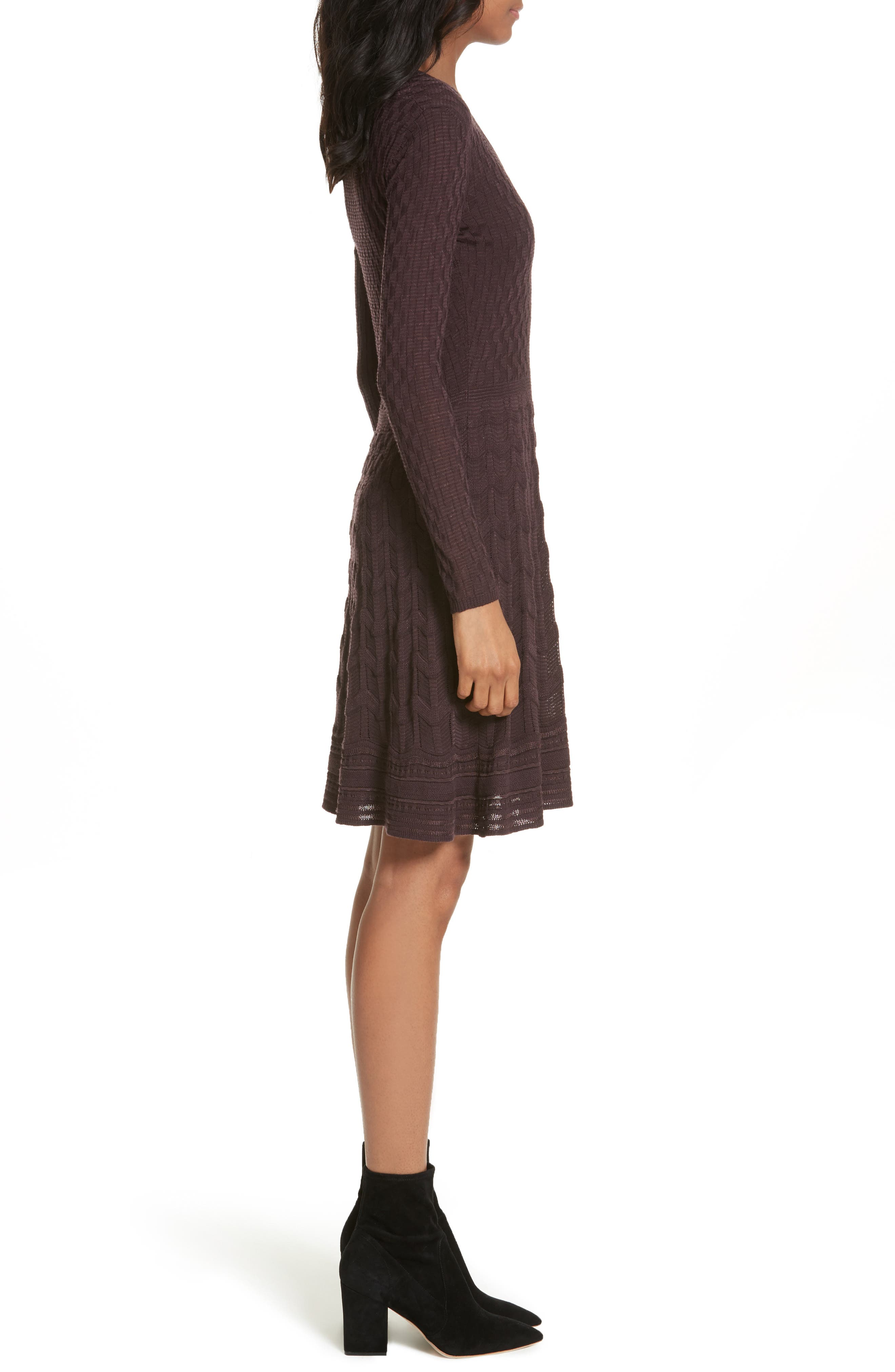 Wool Blend Knit A-Line Dress,                             Alternate thumbnail 3, color,                             570