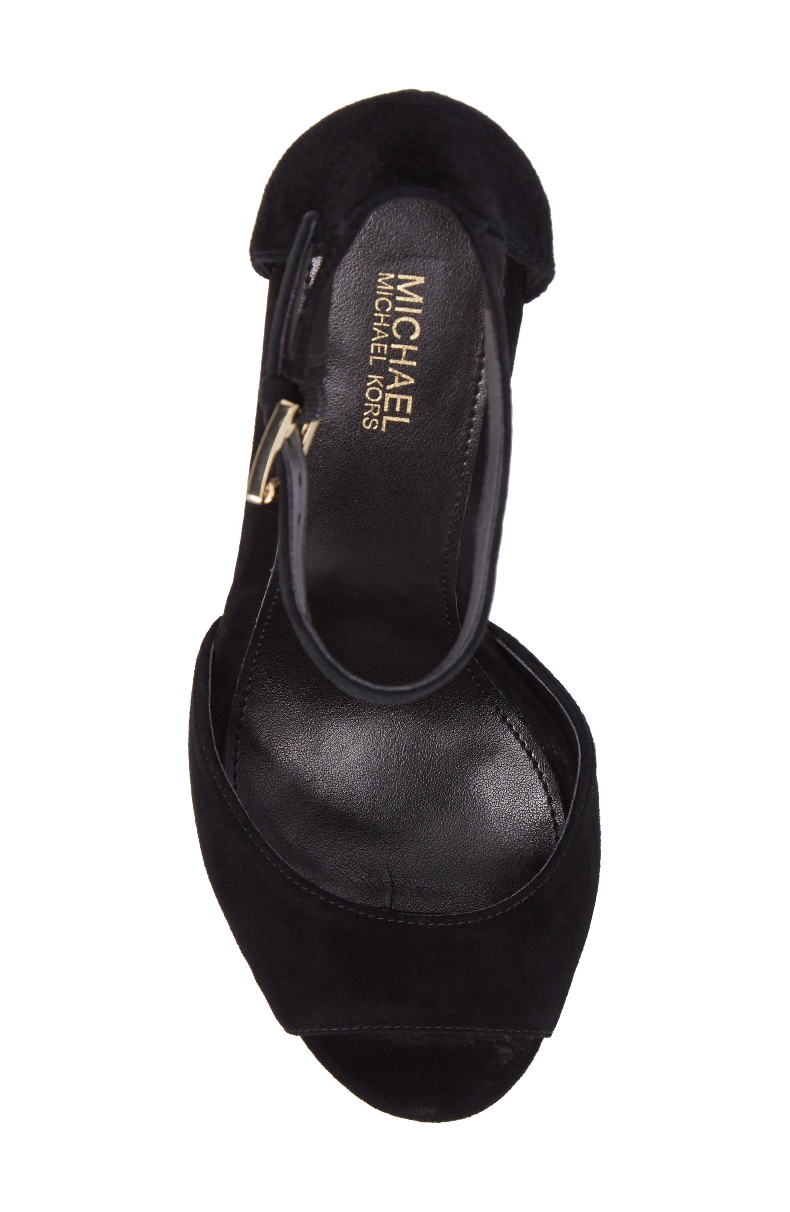 Paloma Metallic Heel Platform Sandal,                             Alternate thumbnail 5, color,                             BLACK LEATHER