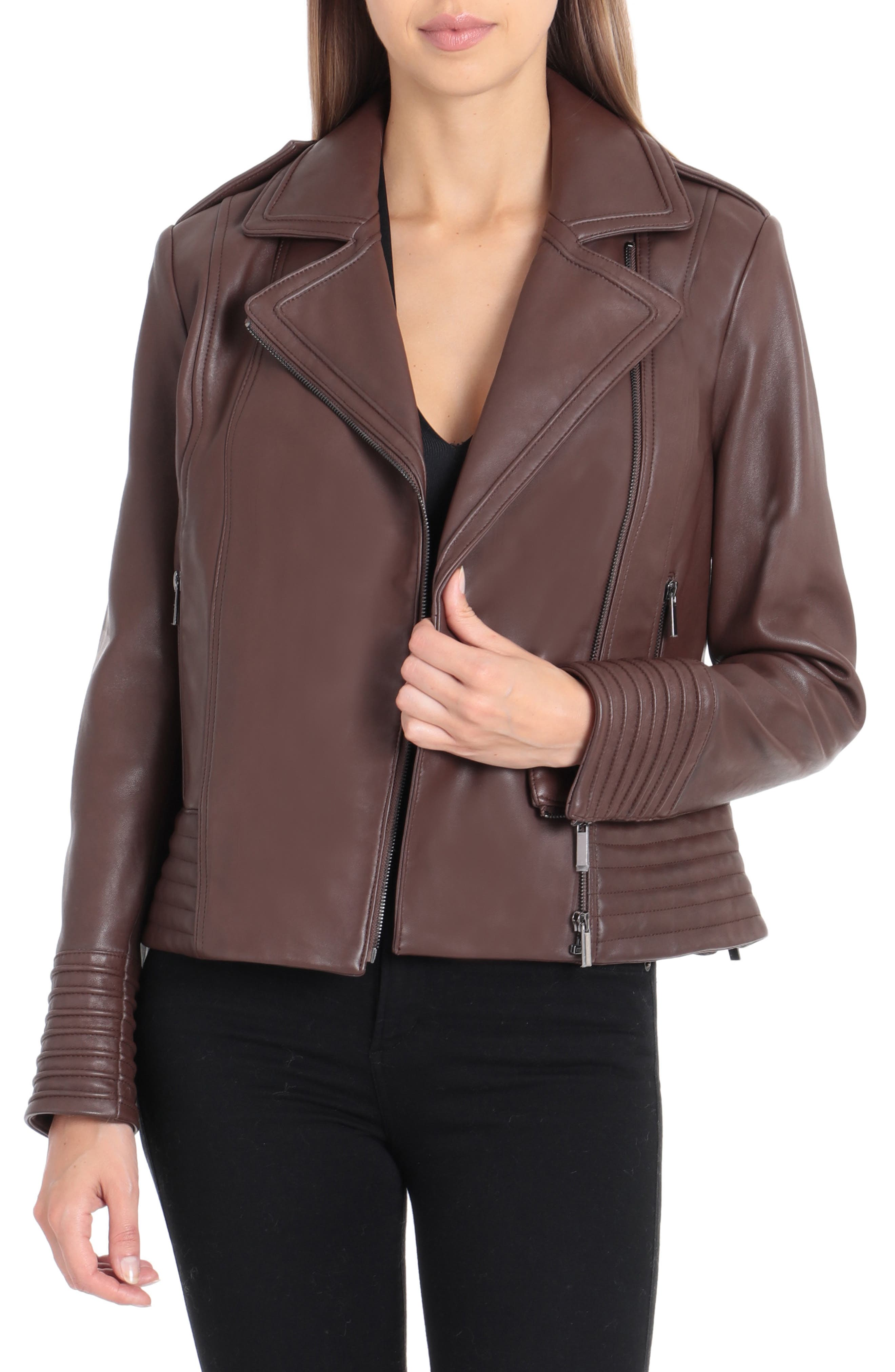 Gia Leather Biker Jacket,                             Main thumbnail 1, color,                             CHOCOLATE