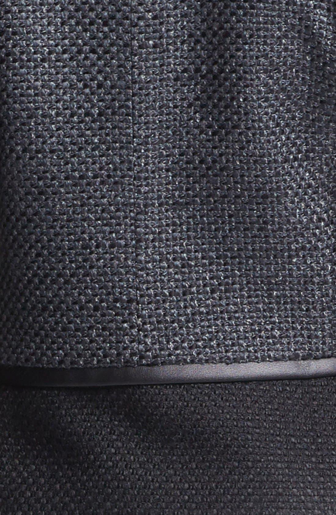 Faux Leather Trim Tweed Jacket,                             Alternate thumbnail 3, color,                             001