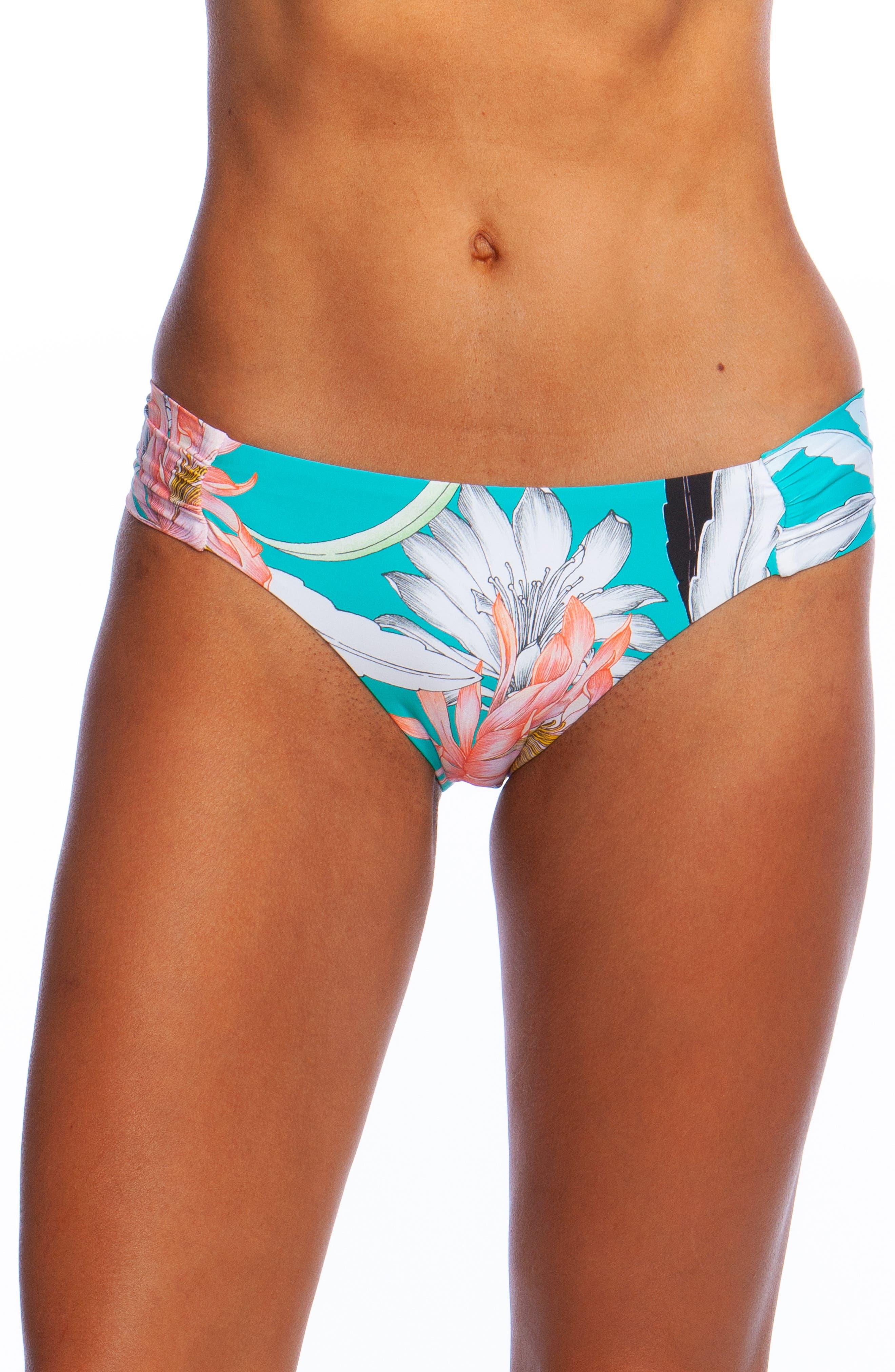 Shirred Side Hipster Bikini Bottoms, Main, color, JADE