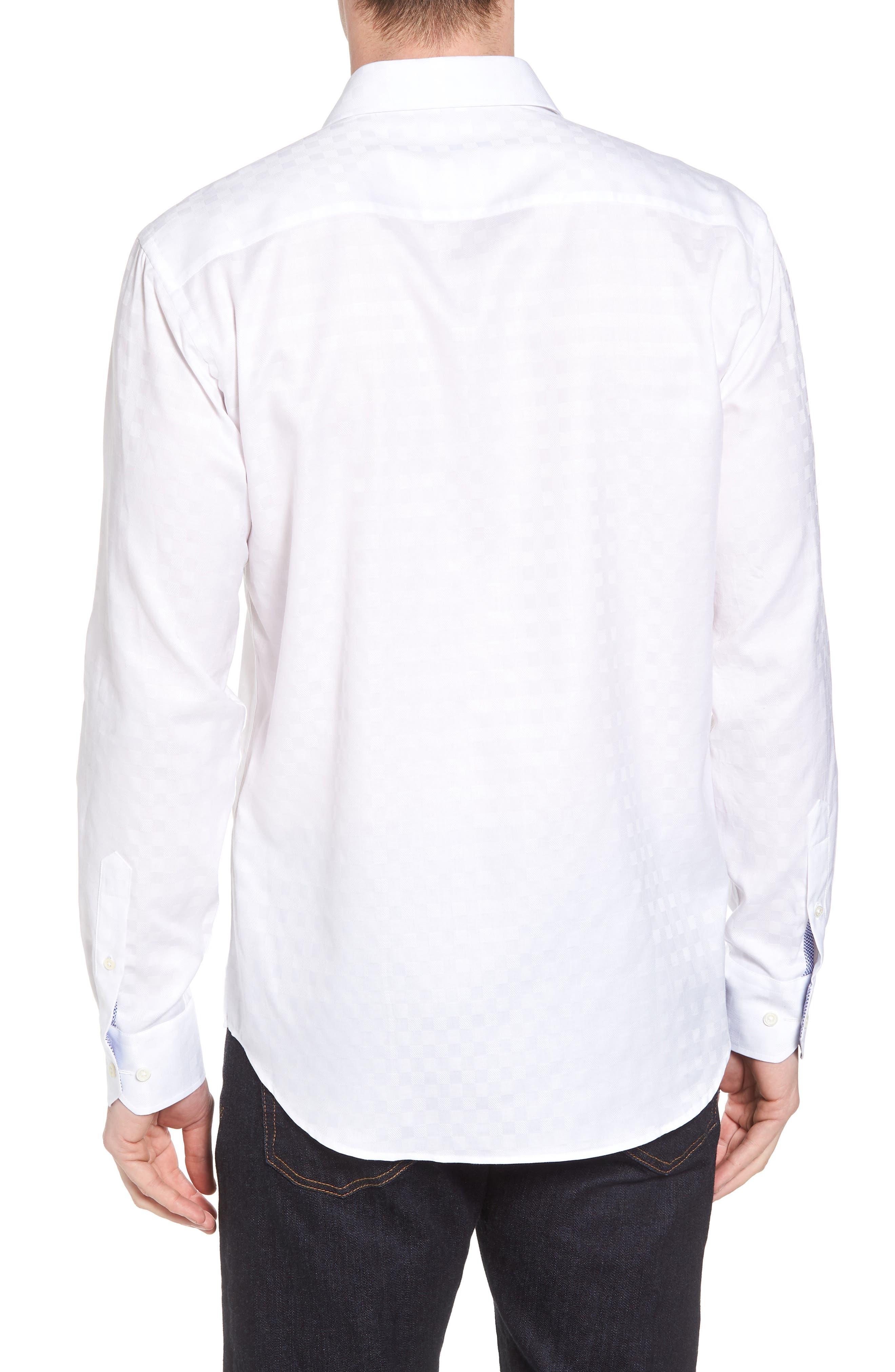 Shaped Fit Tonal Check Sport Shirt,                             Alternate thumbnail 2, color,                             WHITE