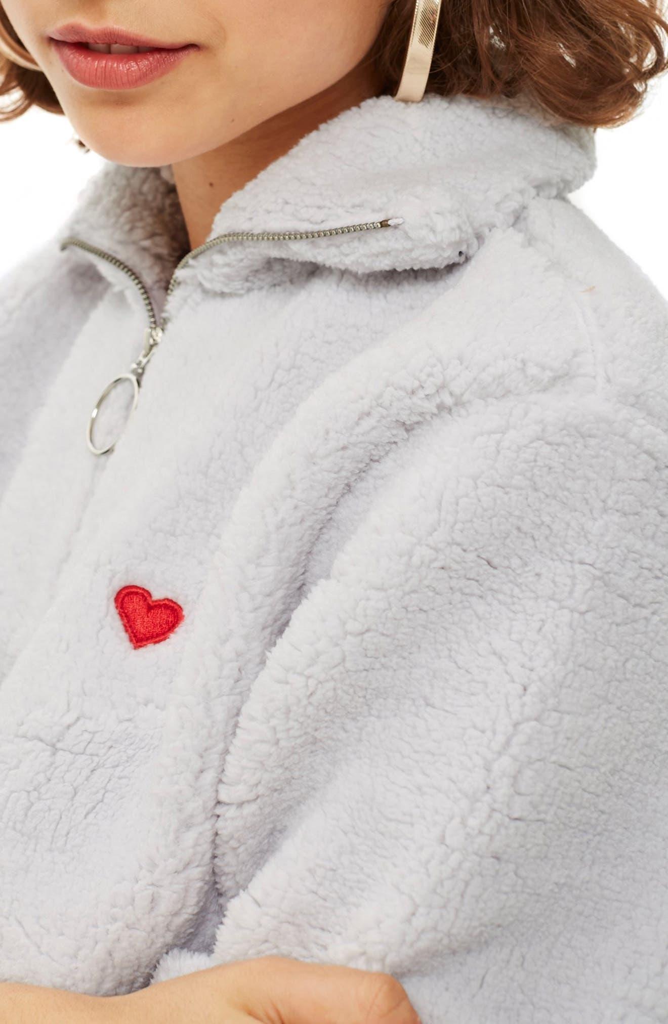 Borg Heart Quarter Zip Pullover,                             Alternate thumbnail 3, color,                             GREY
