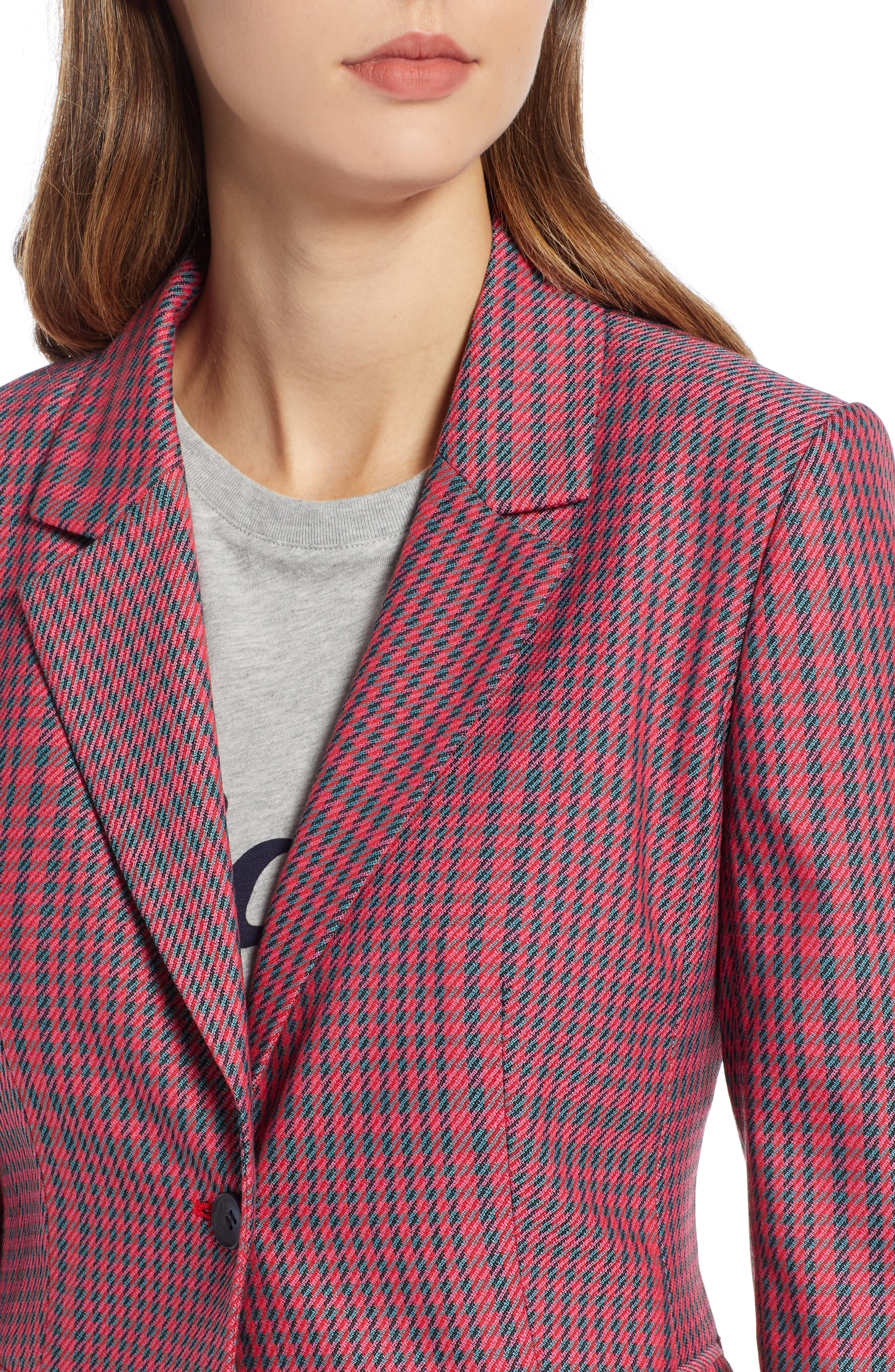 Plaid Blazer,                             Alternate thumbnail 4, color,                             PINK SIMONE PLAID
