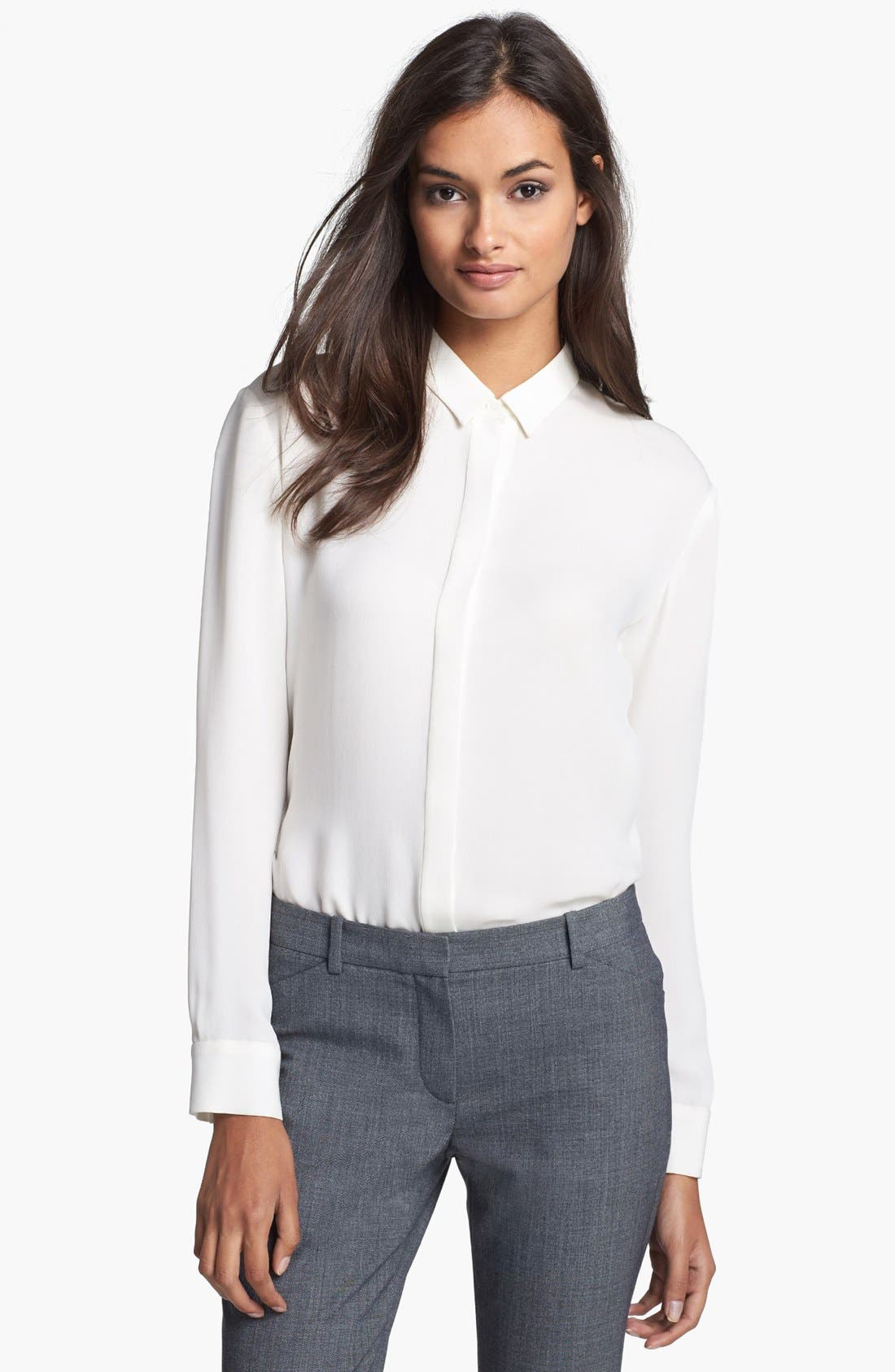 'Driya' Silk Shirt, Main, color, 100