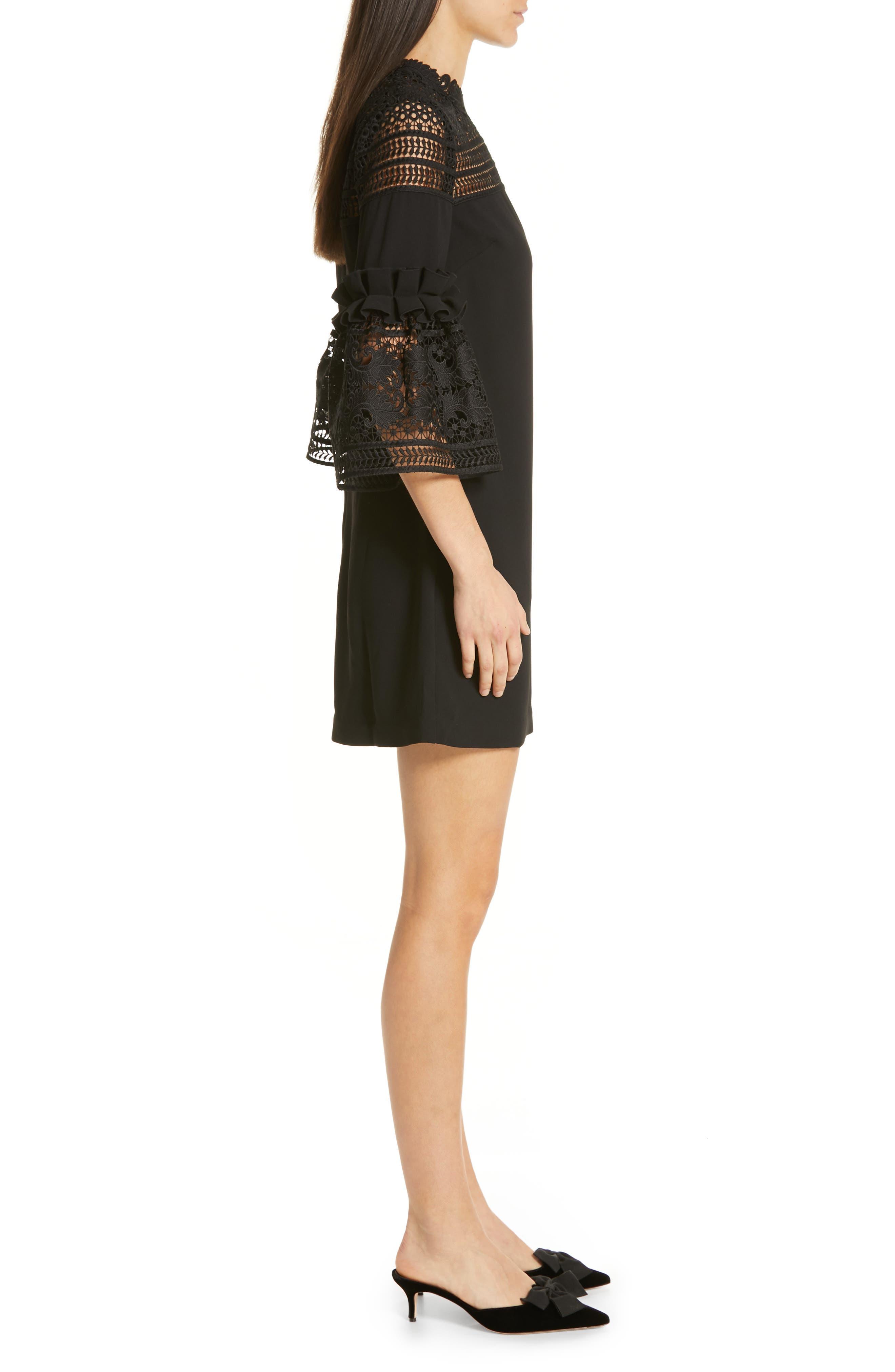 Lace Panel Bell Sleeve Tunic Dress,                             Alternate thumbnail 3, color,                             BLACK