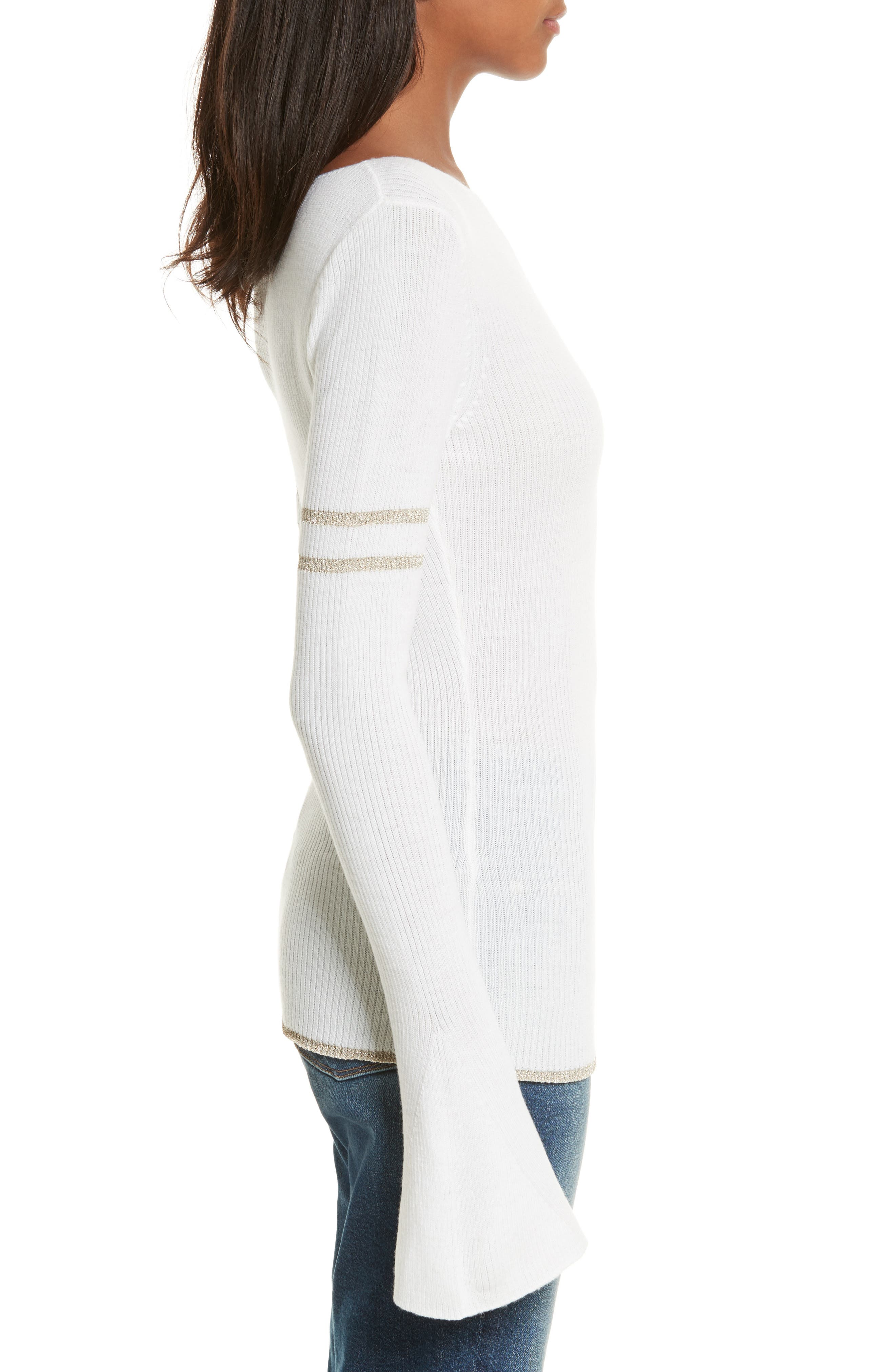 Metallic Knit Merino Wool Blend Sweater,                             Alternate thumbnail 3, color,                             199