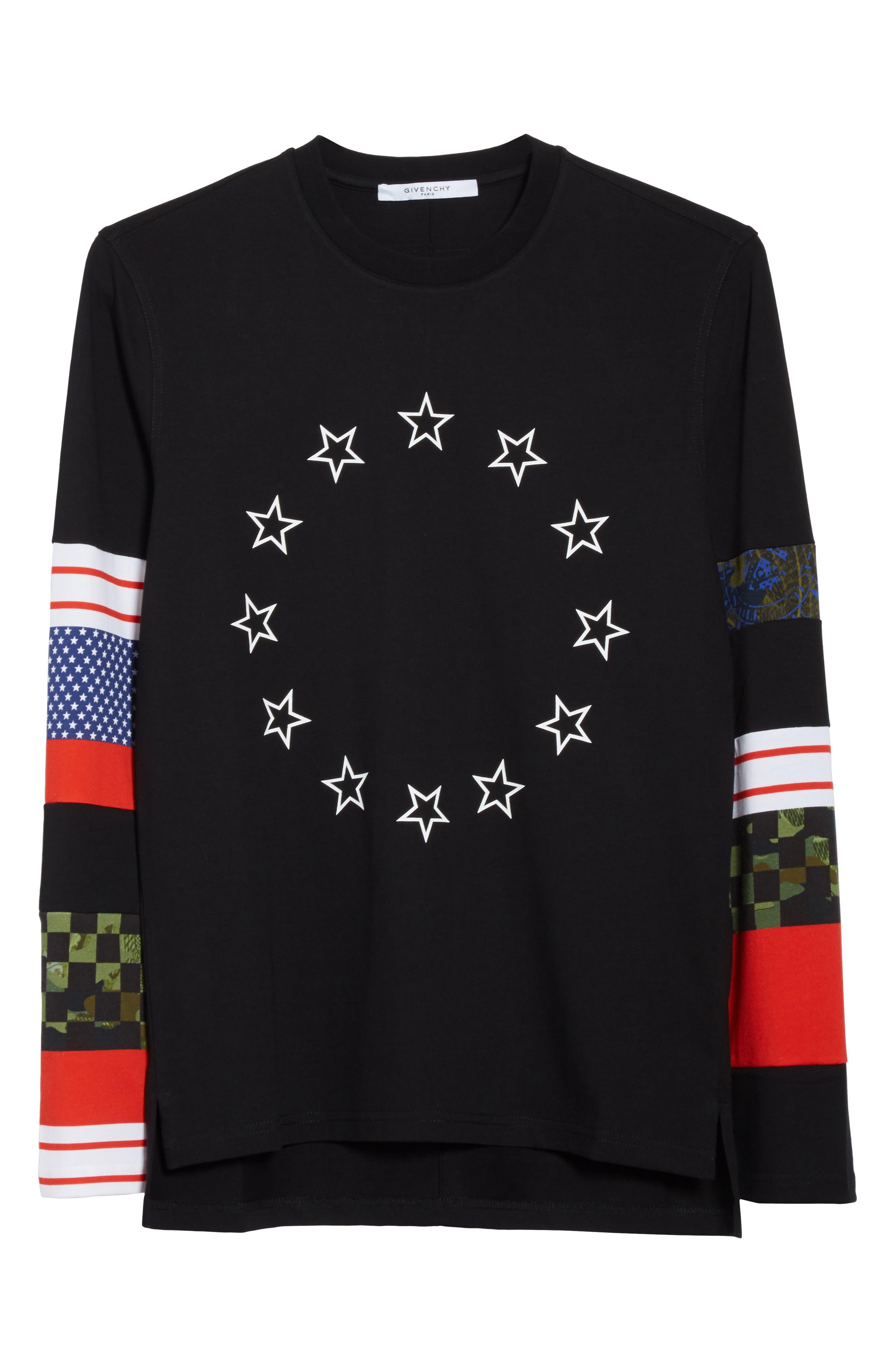 Cuban Fit Circle Star Print T-Shirt,                             Alternate thumbnail 6, color,                             001
