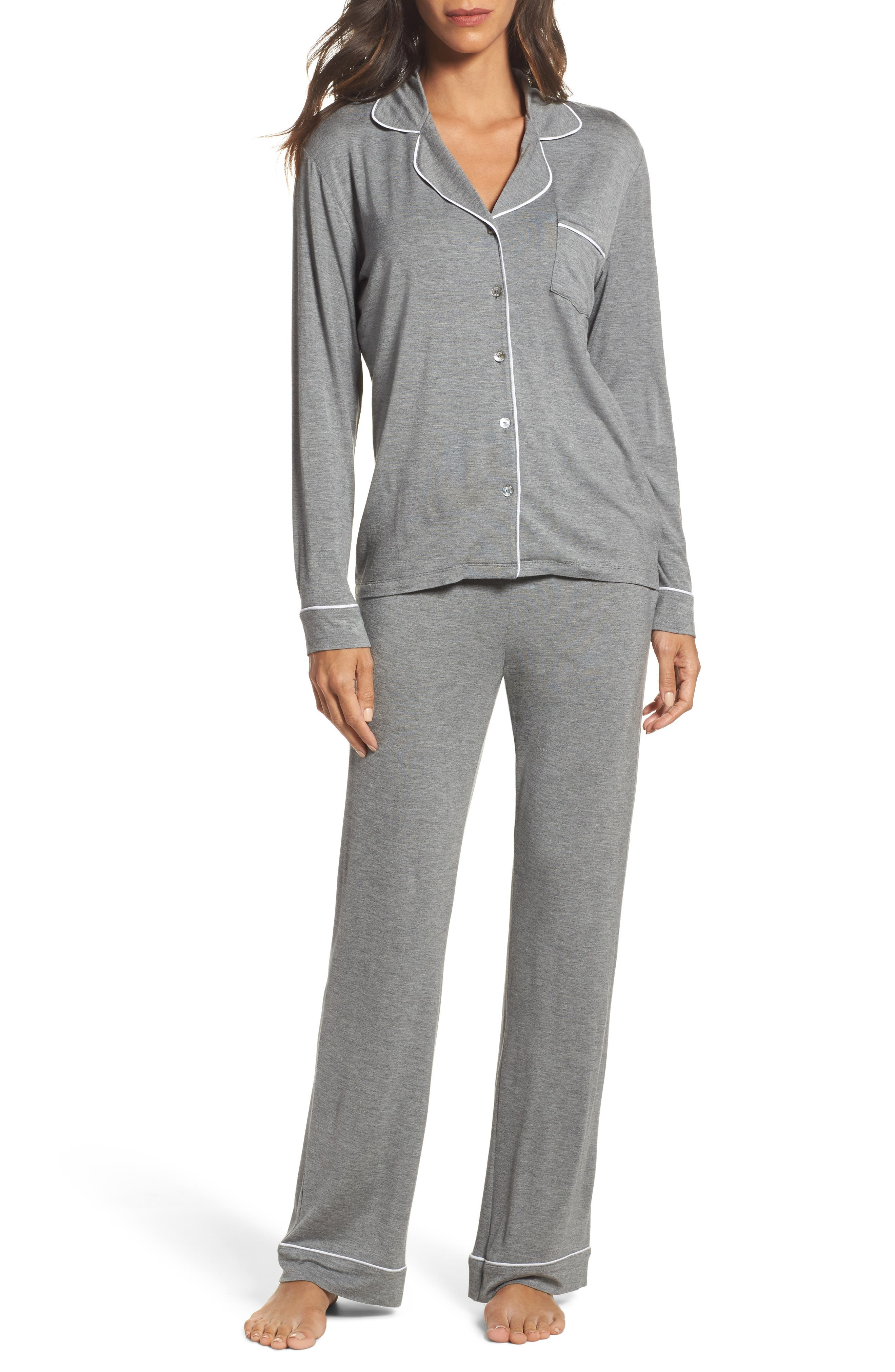 Lenon Jersey Pajamas,                             Main thumbnail 1, color,                             GREY HEATHER