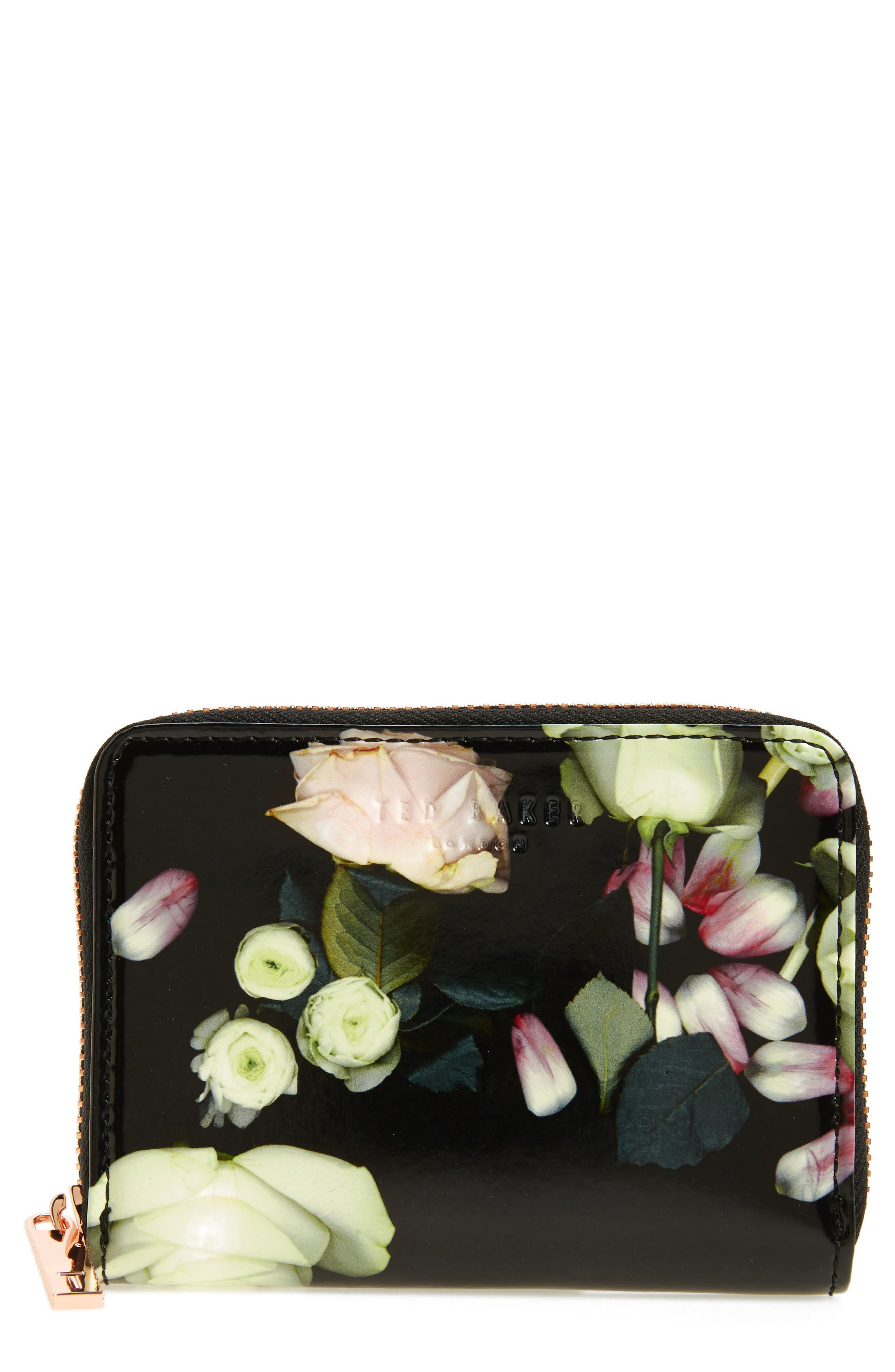 Mayycie Kensington Floral Leather Mini Purse,                             Main thumbnail 1, color,                             001
