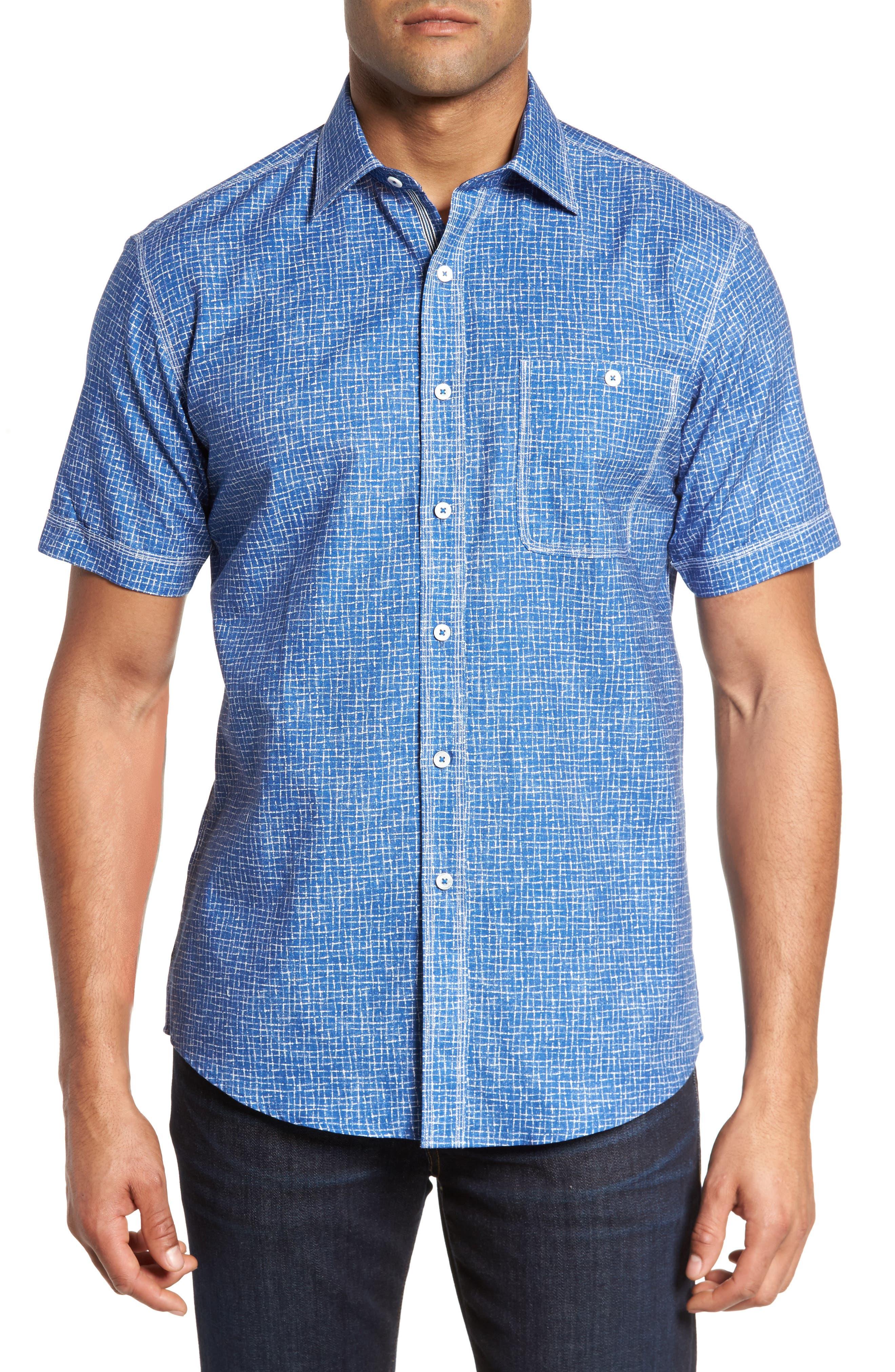 Shaped Fit Print Sport Shirt,                             Main thumbnail 1, color,                             300